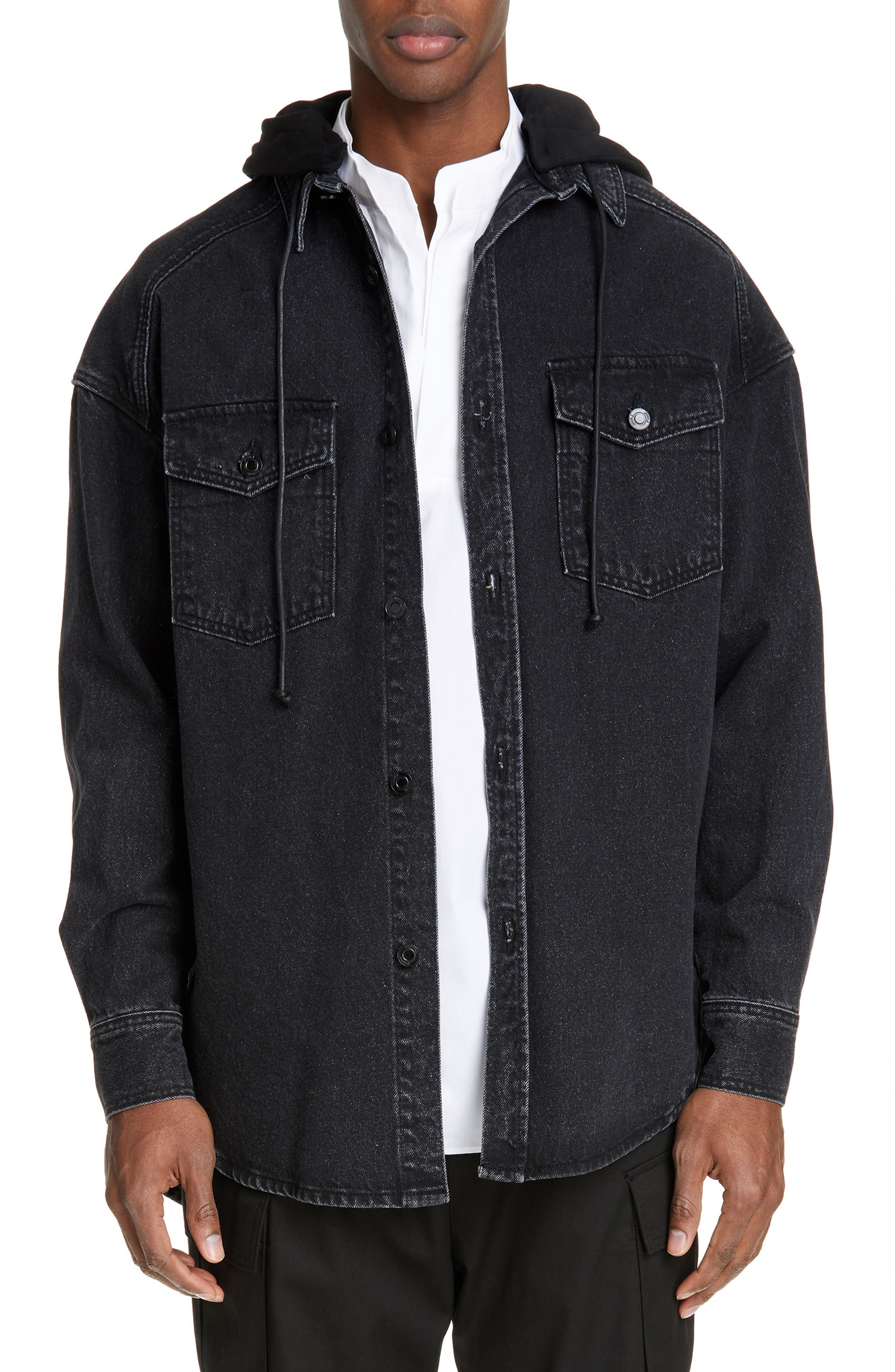JUUN.J, Denim Shirt with Detachable Hood, Main thumbnail 1, color, BLACK