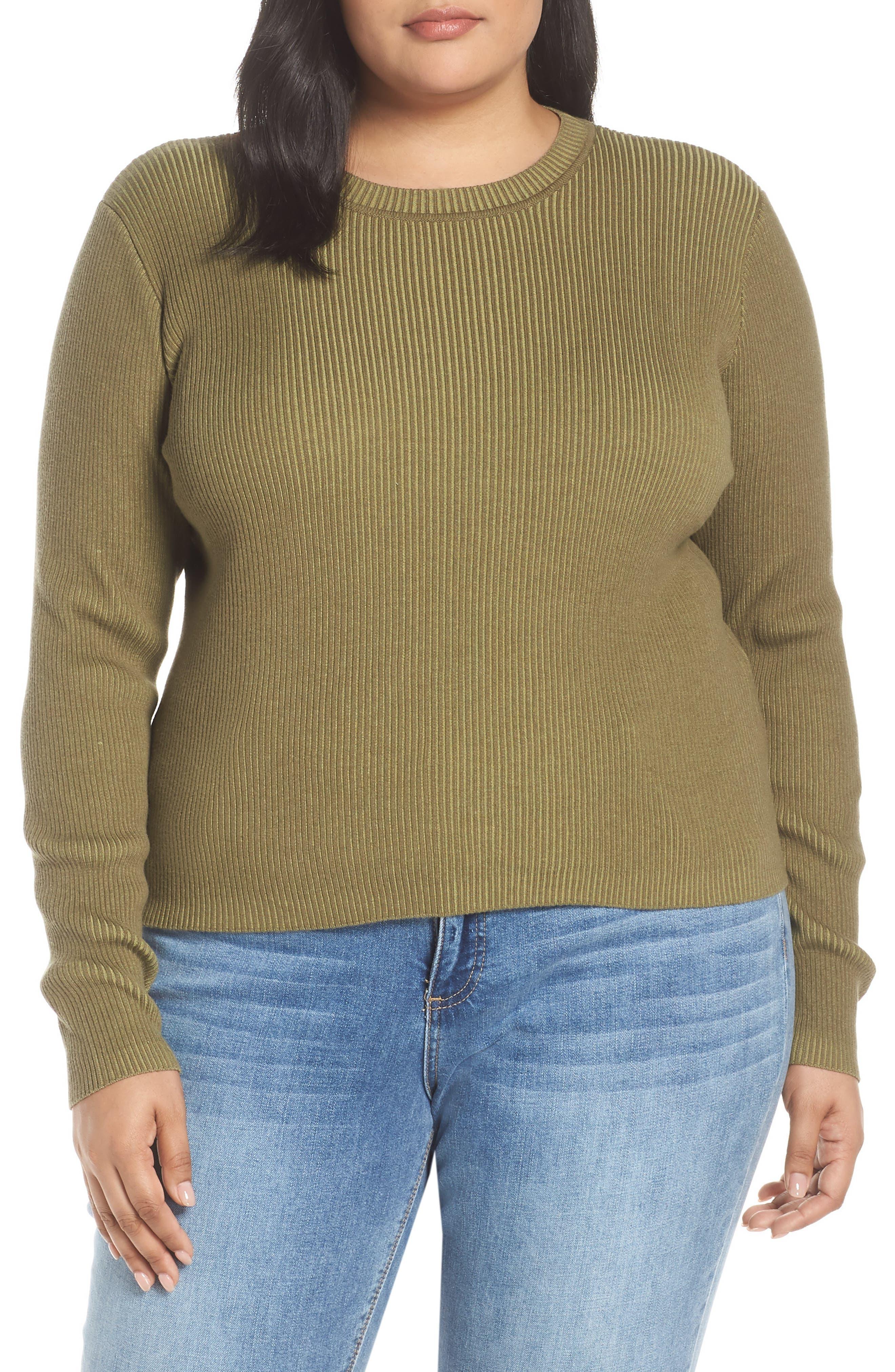 BP., Plaited Rib Sweater, Alternate thumbnail 2, color, OLIVE BURNT
