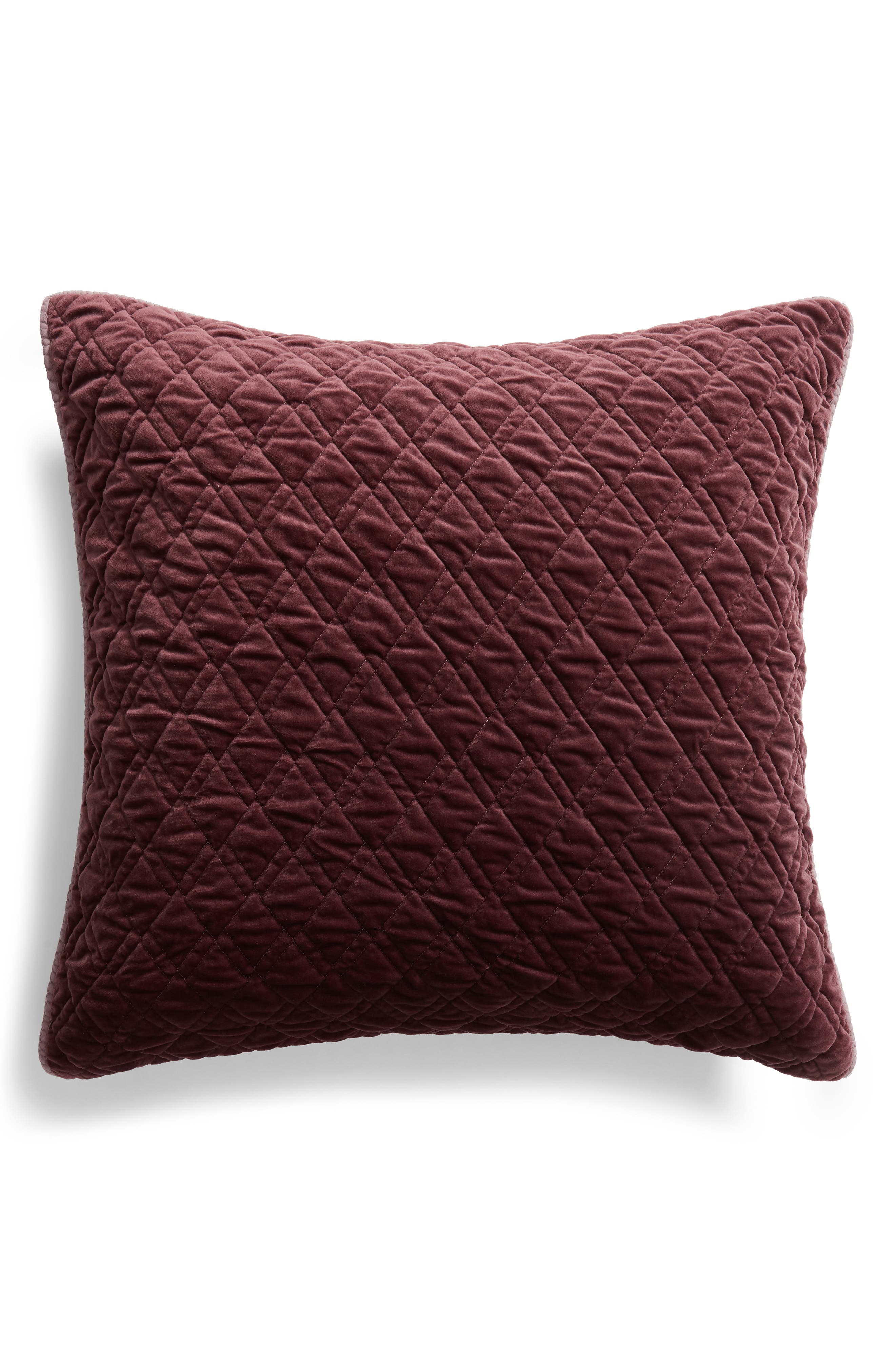 NORDSTROM AT HOME, Karlina Quilted Euro Sham, Main thumbnail 1, color, BURGUNDY STEM