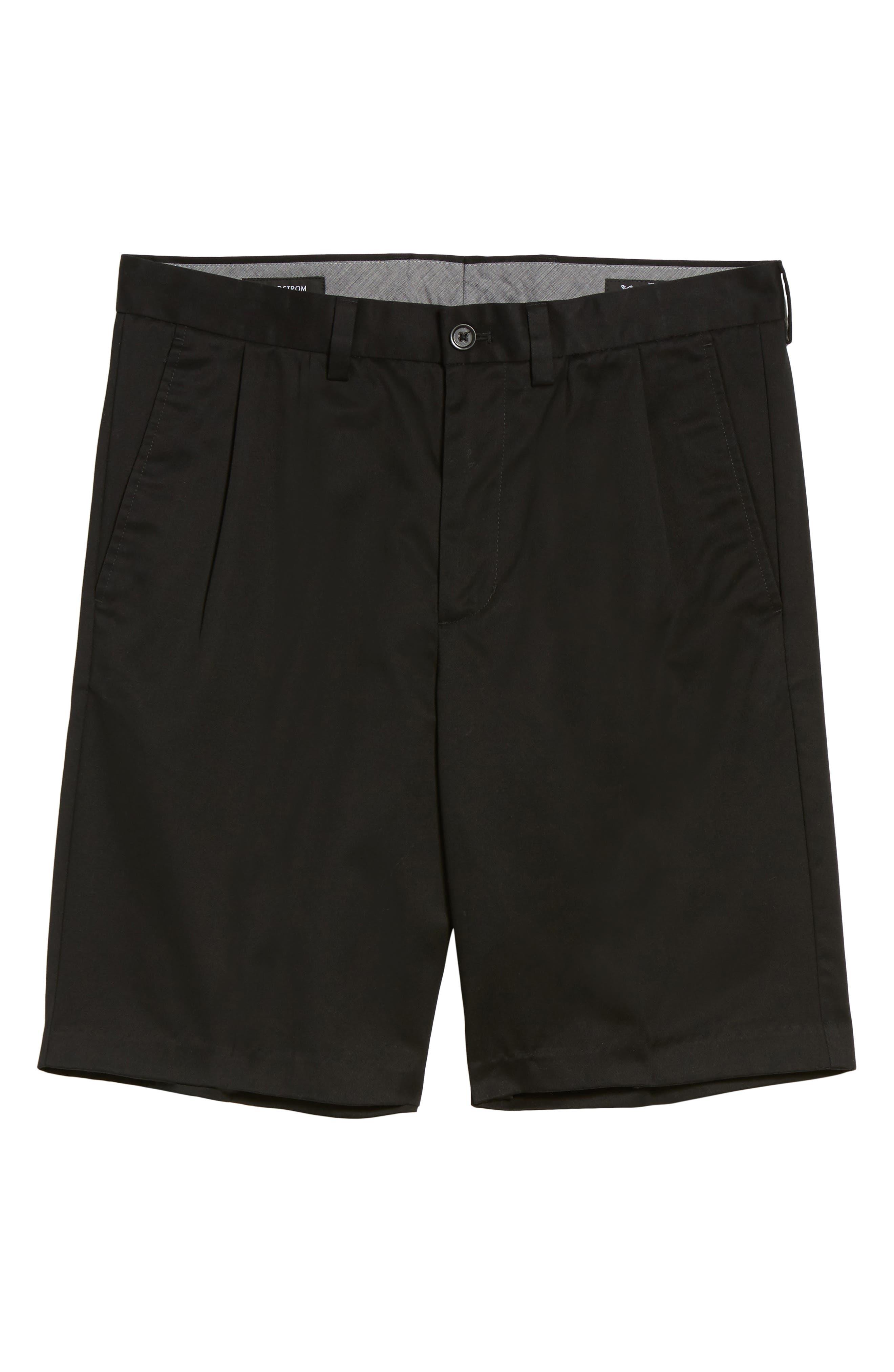 NORDSTROM MEN'S SHOP, Smartcare<sup>™</sup> Pleated Shorts, Main thumbnail 1, color, BLACK