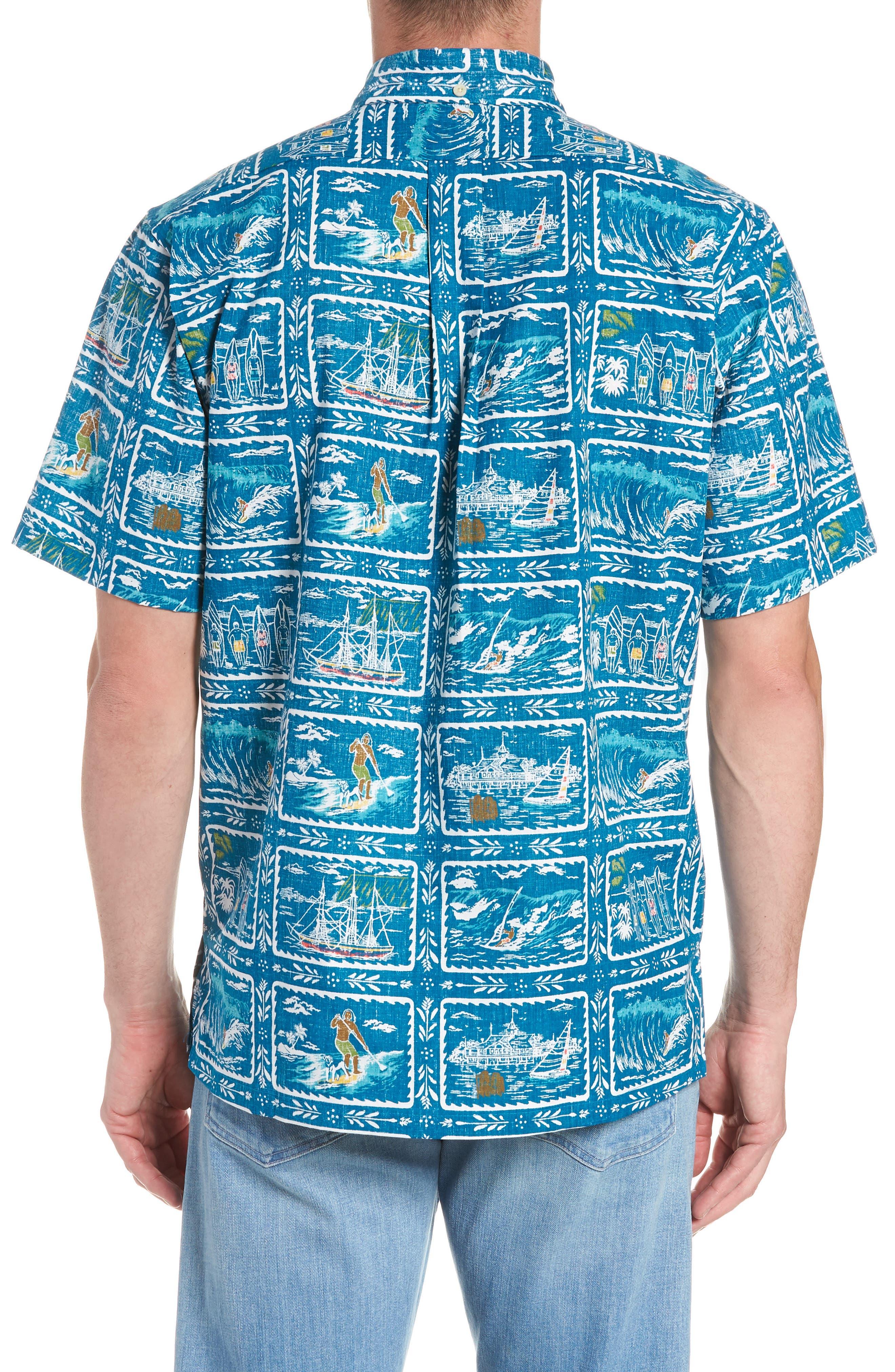 REYN SPOONER, Hawaiian Sports Classic Fit Pullover Sport Shirt, Alternate thumbnail 3, color, BLUE