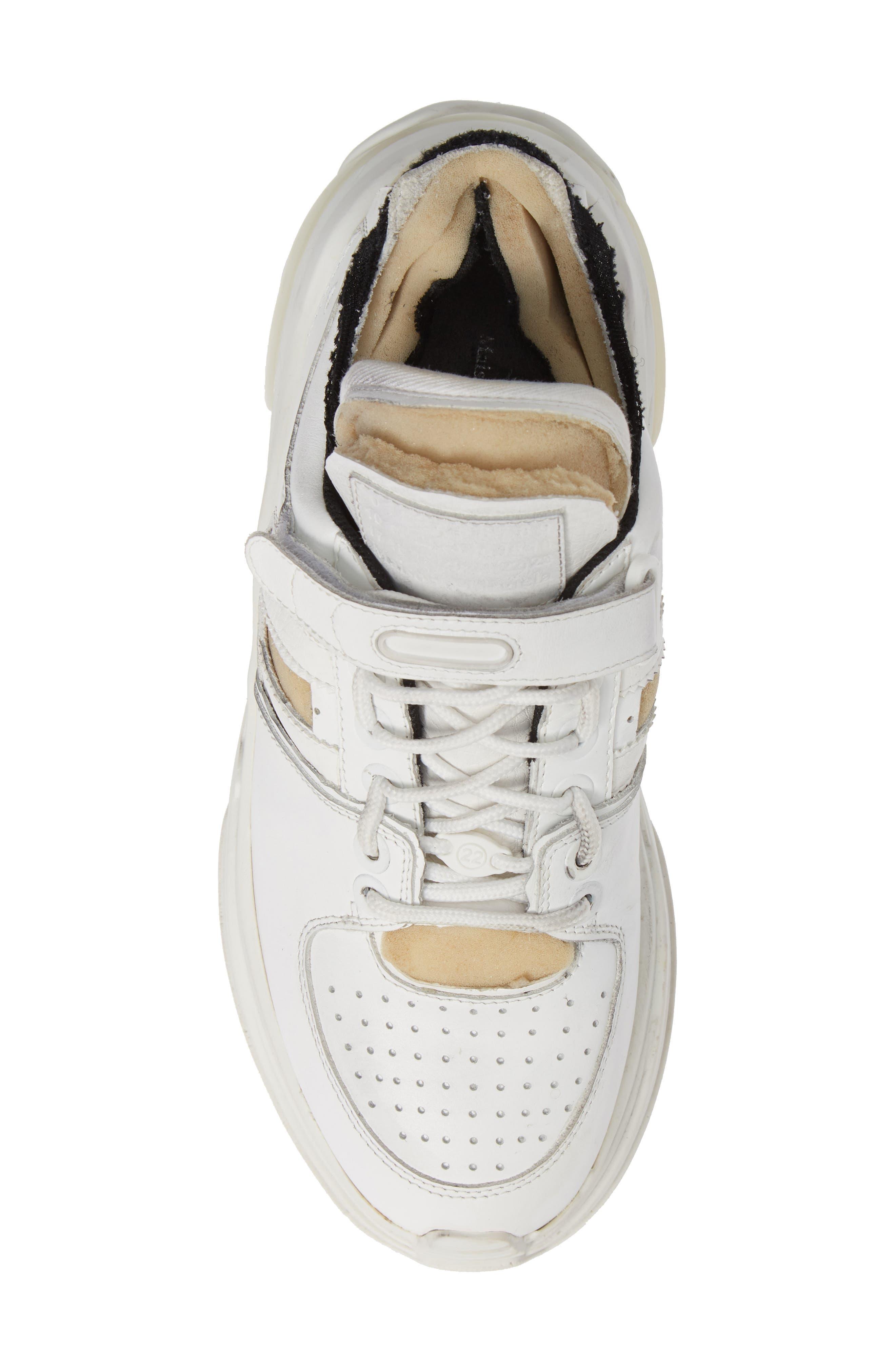 MAISON MARGIELA, Retro Fit Destroyed Sneaker, Alternate thumbnail 5, color, WHITE