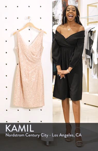 Sleeveless V-Neck Embellished Cocktail Dress, sales video thumbnail