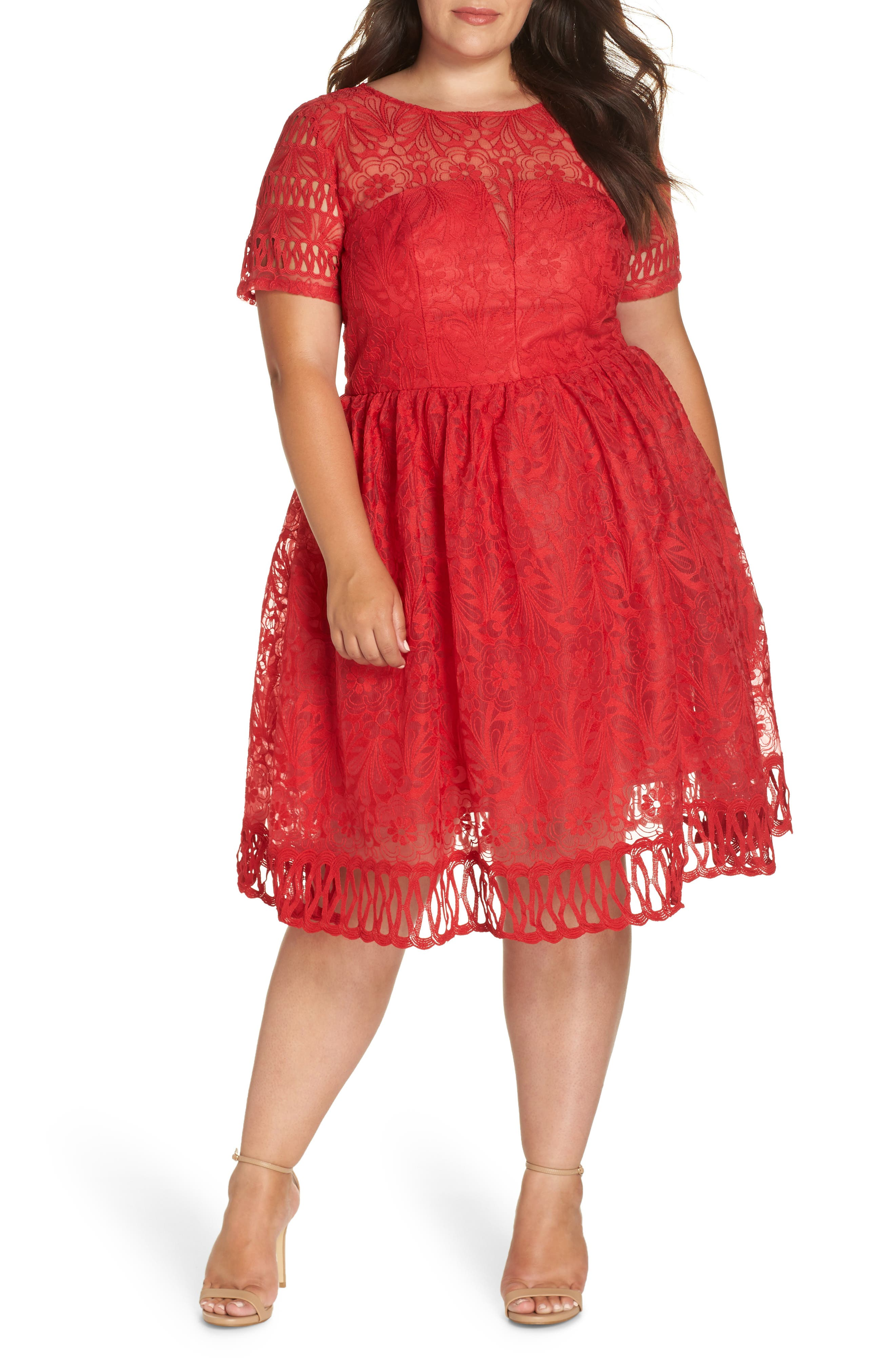 CHI CHI LONDON, Crochet Dress, Main thumbnail 1, color, RED