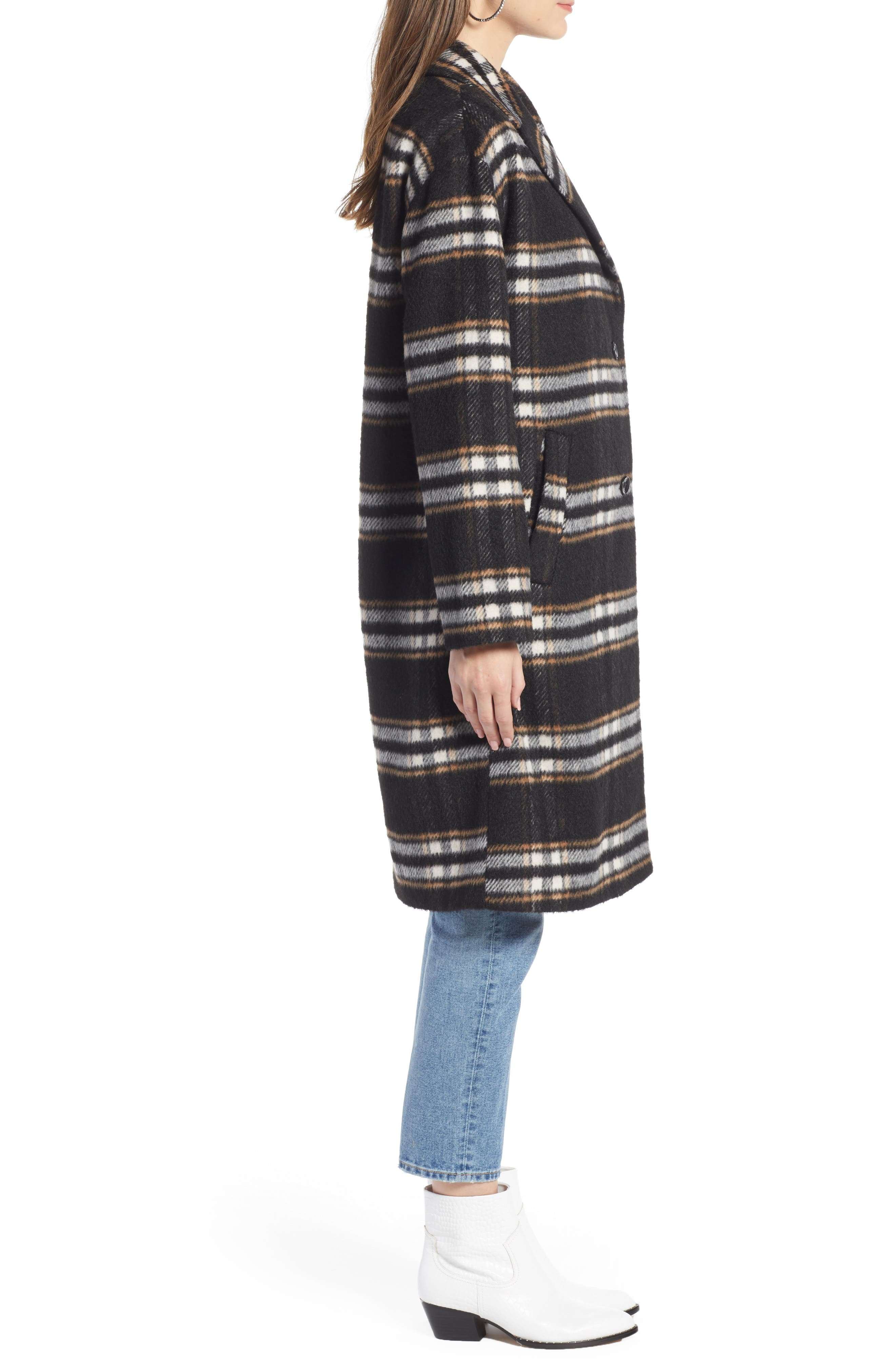 SOMETHING NAVY, Longline Plaid Coat, Alternate thumbnail 4, color, BLACK PLAID