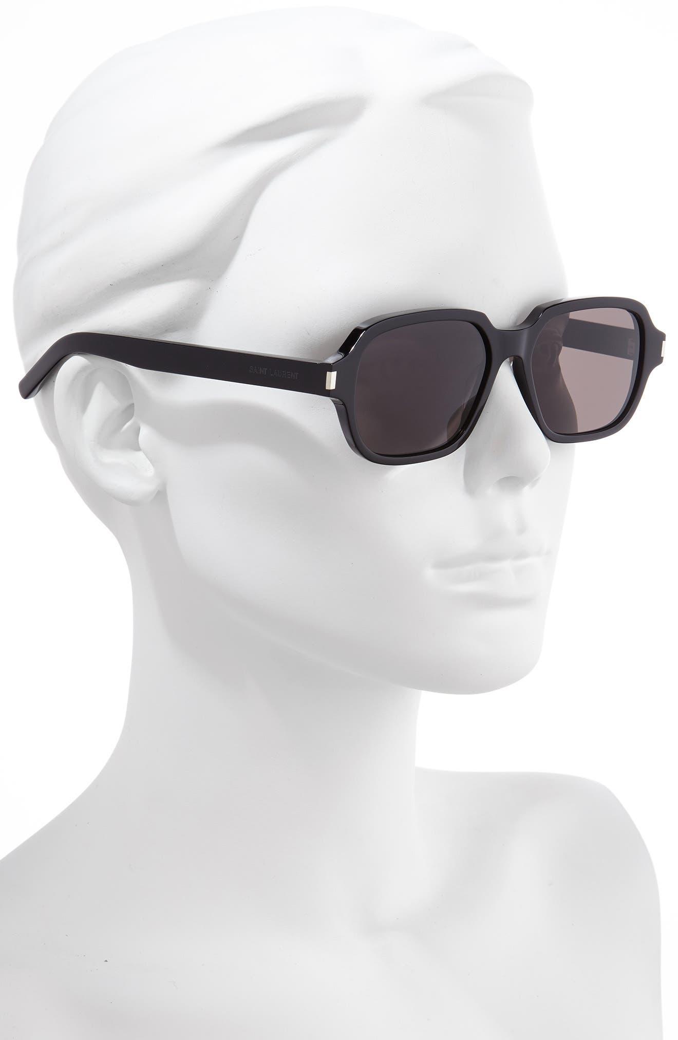 SAINT LAURENT, 53mm Rectangle Sunglasses, Alternate thumbnail 2, color, SHINY BLACK/ GREY SOLID
