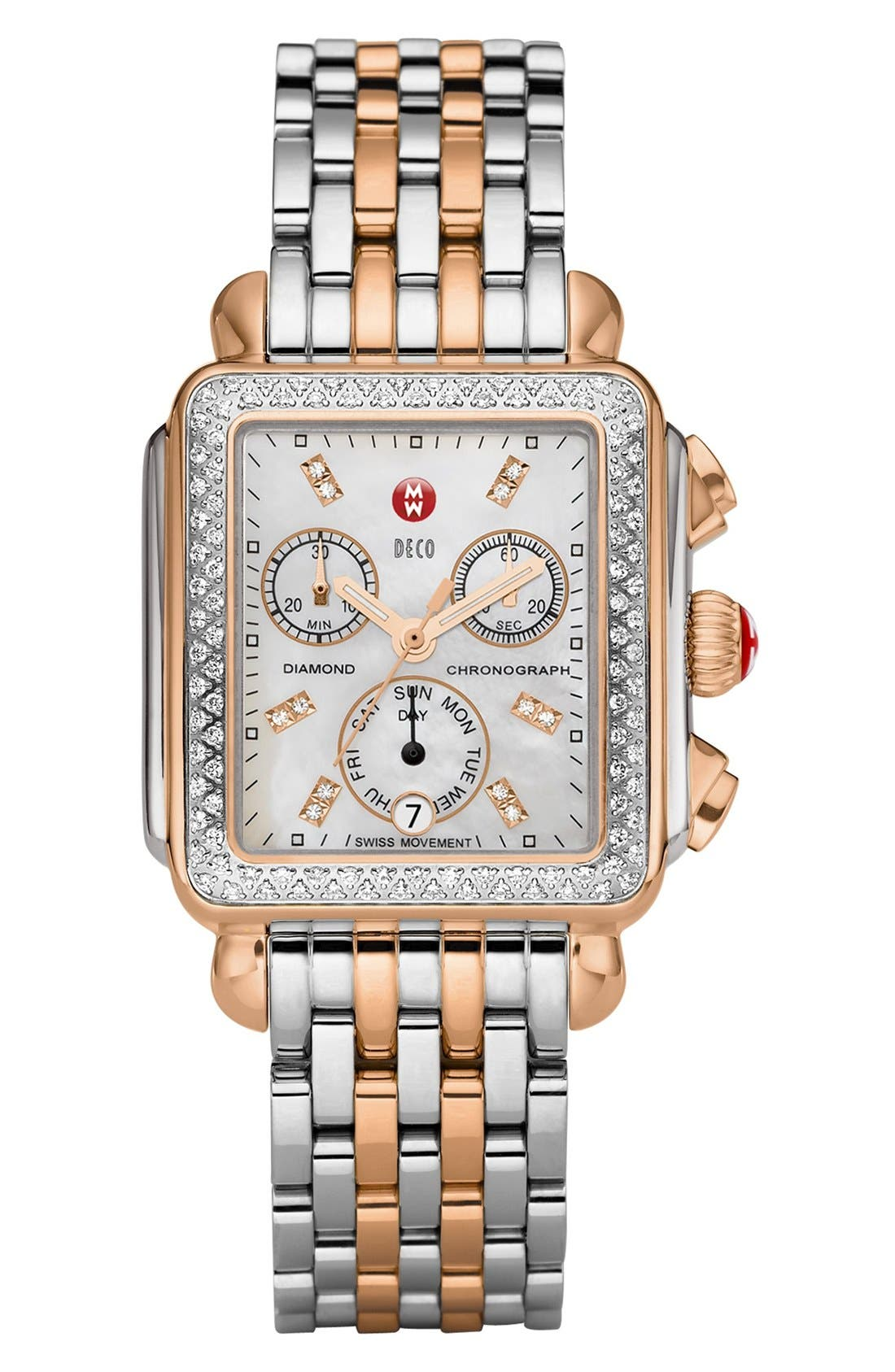 MICHELE, Deco Diamond Diamond Dial Watch Case, 33mm x 35mm, Alternate thumbnail 7, color, SILVER/ ROSE GOLD