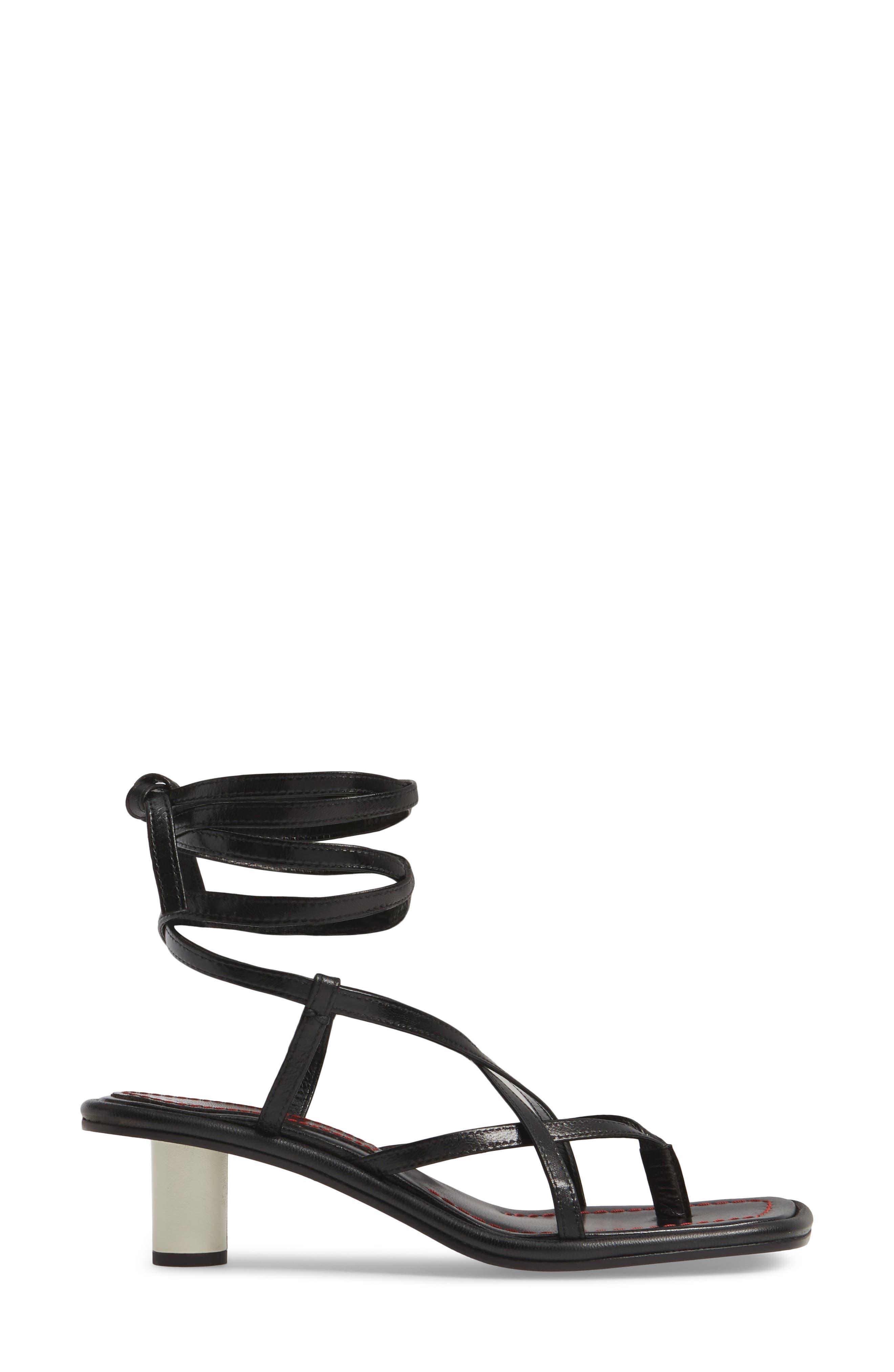 PROENZA SCHOULER, Wraparound Ankle Strap Sandal, Alternate thumbnail 3, color, BLACK