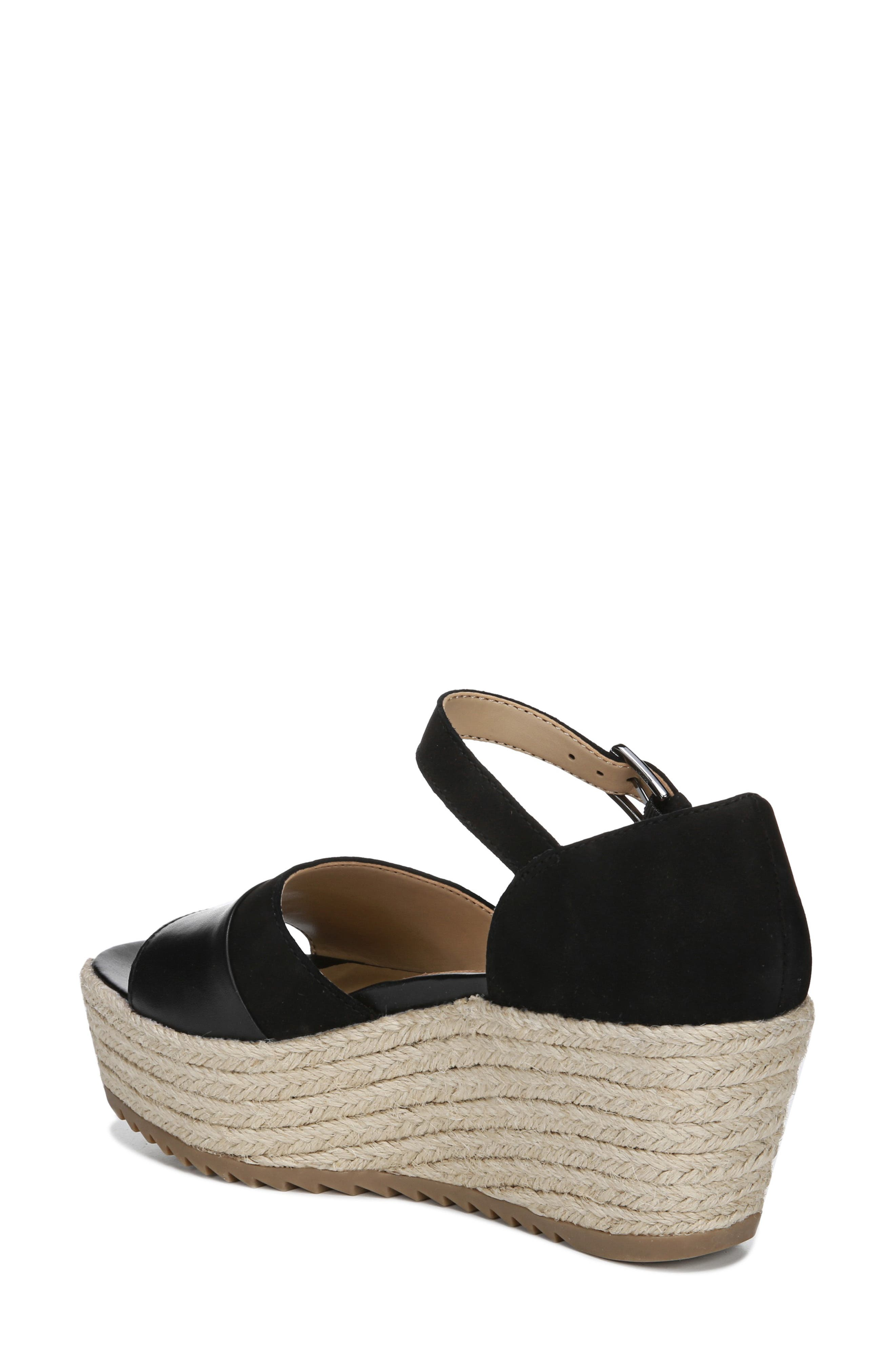 NATURALIZER, Opal Espadrille Platform Wedge Sandal, Alternate thumbnail 2, color, BLACK LEATHER