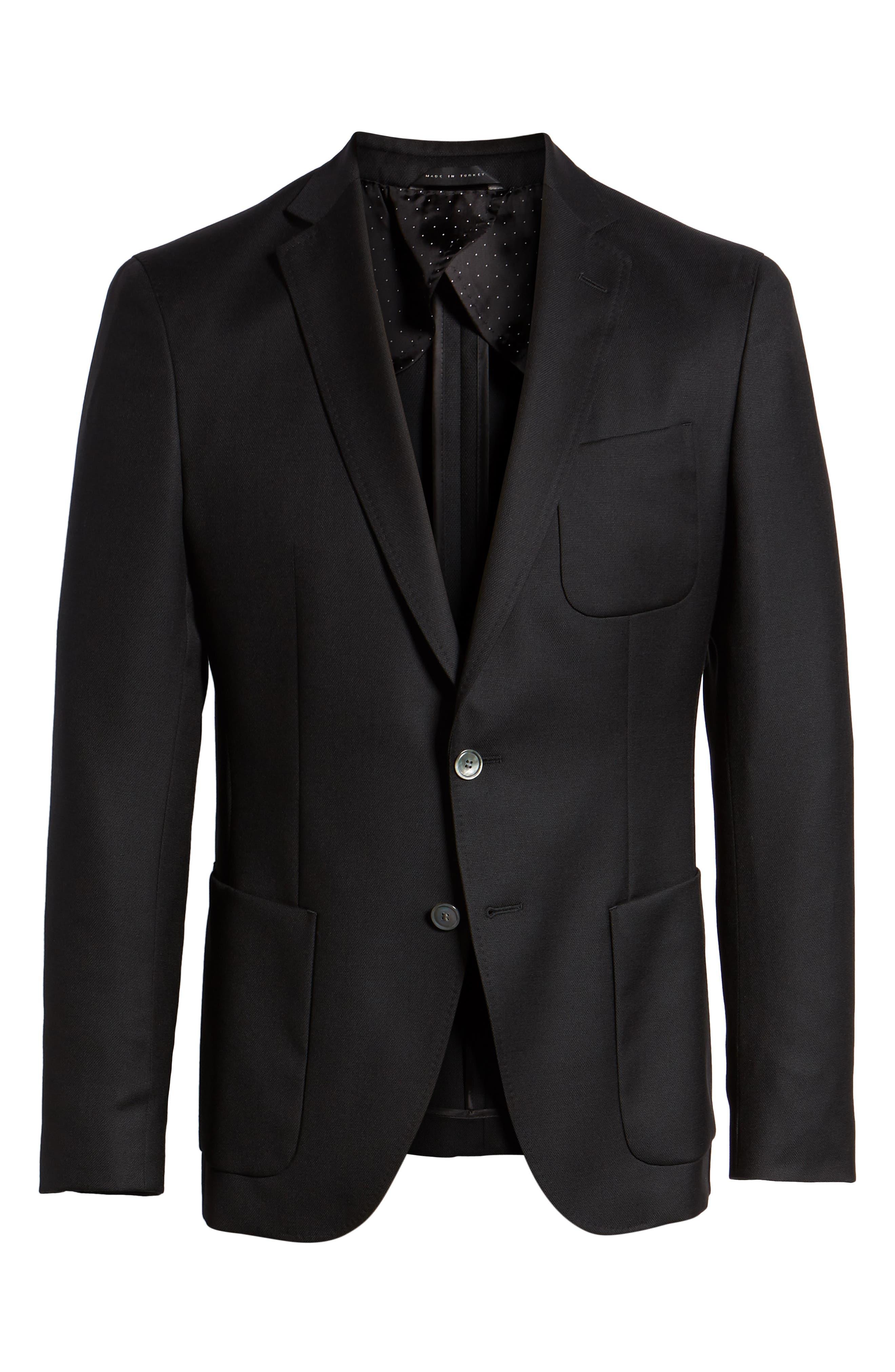 BOSS, Raye Extra Slim Fit Sport Coat, Alternate thumbnail 5, color, BLACK