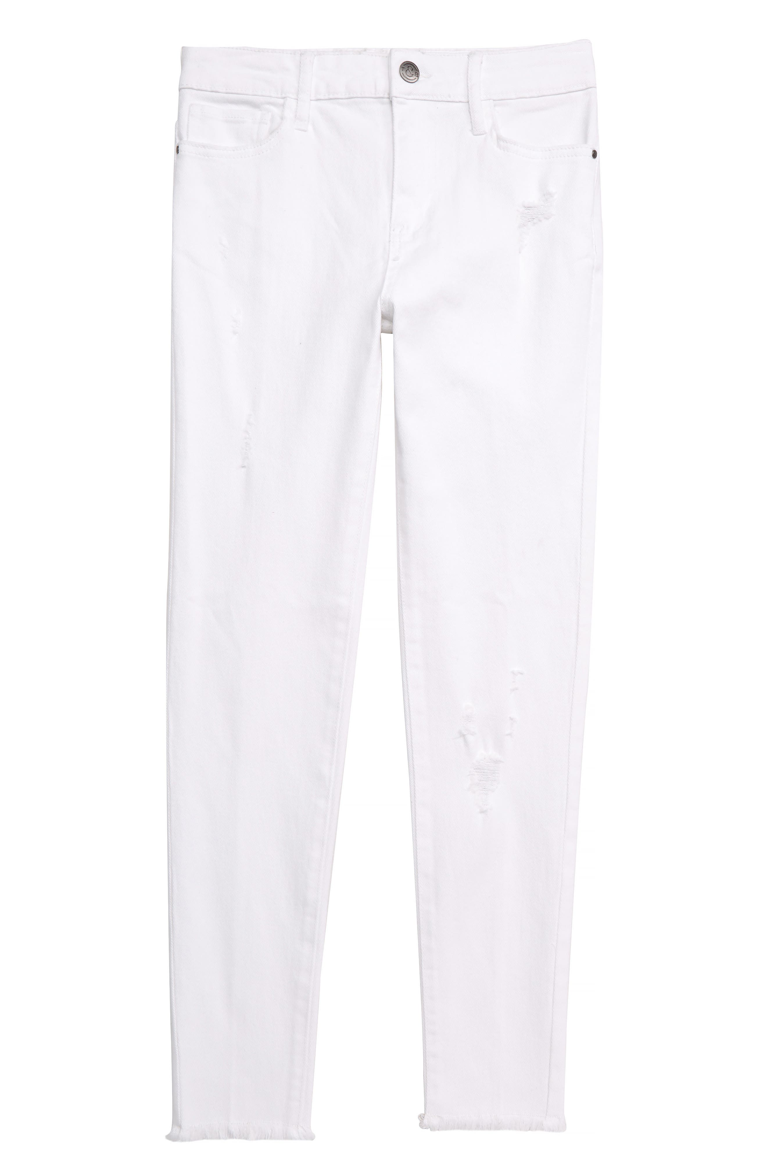 TREASURE & BOND Distressed Skinny Jeans, Main, color, WHITE