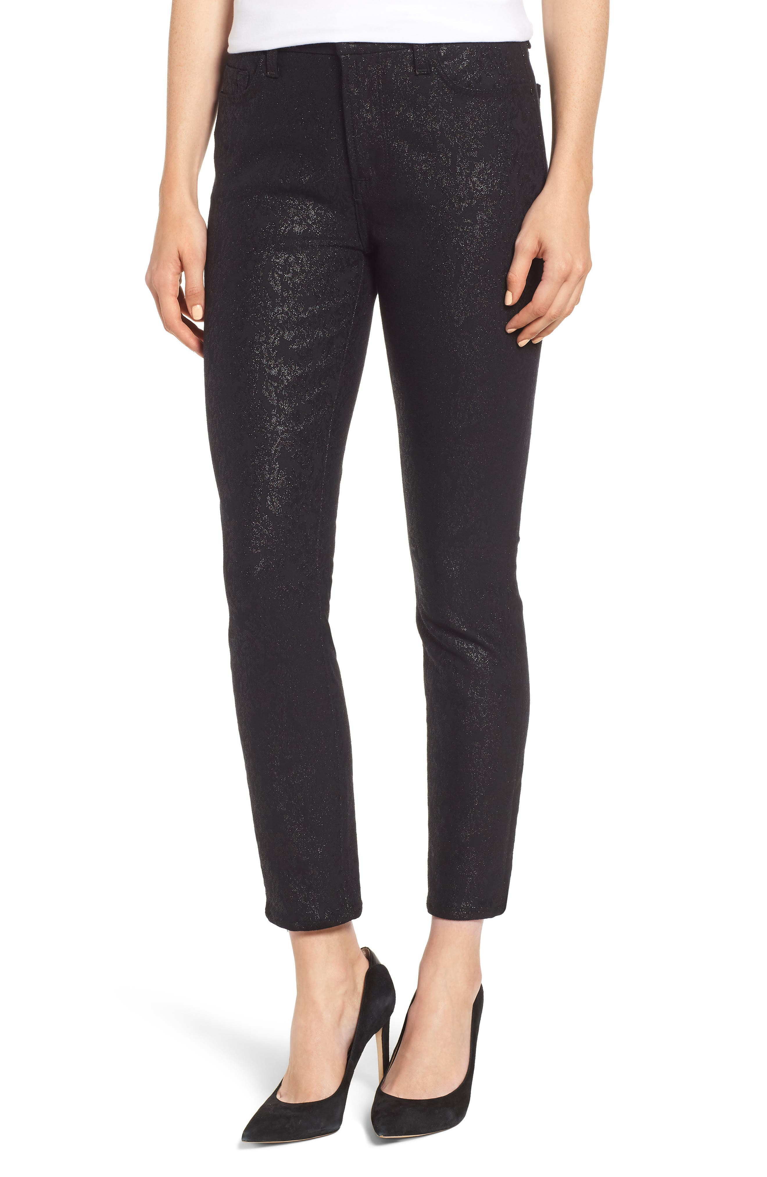 JEN7 BY 7 FOR ALL MANKIND, Floral Metallic Ankle Skinny Jeans, Main thumbnail 1, color, BLACK