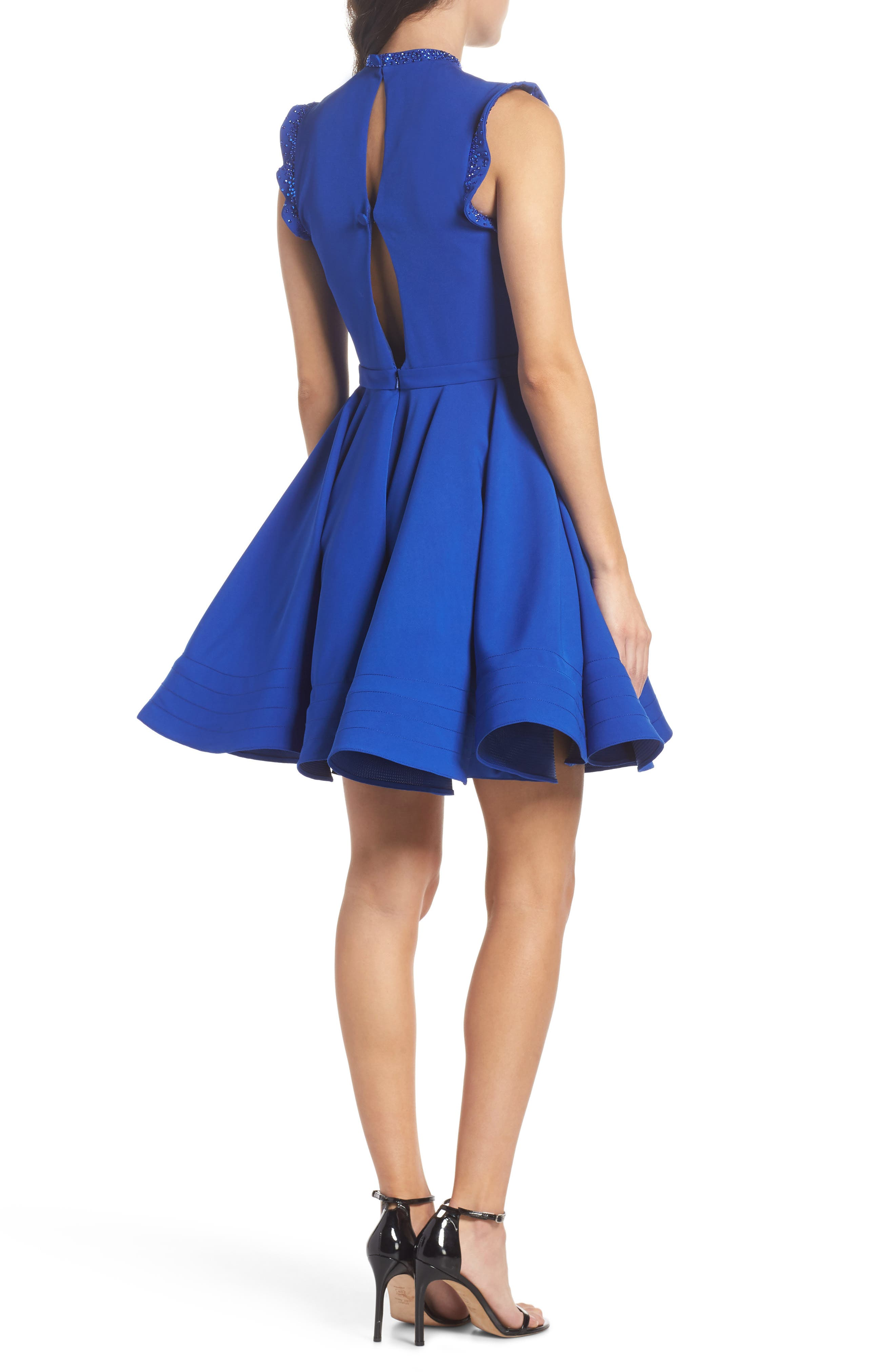 IEENA FOR MAC DUGGAL, Mac Duggal Embellished Ruffle Fit & Flare Dress, Alternate thumbnail 2, color, ROYAL