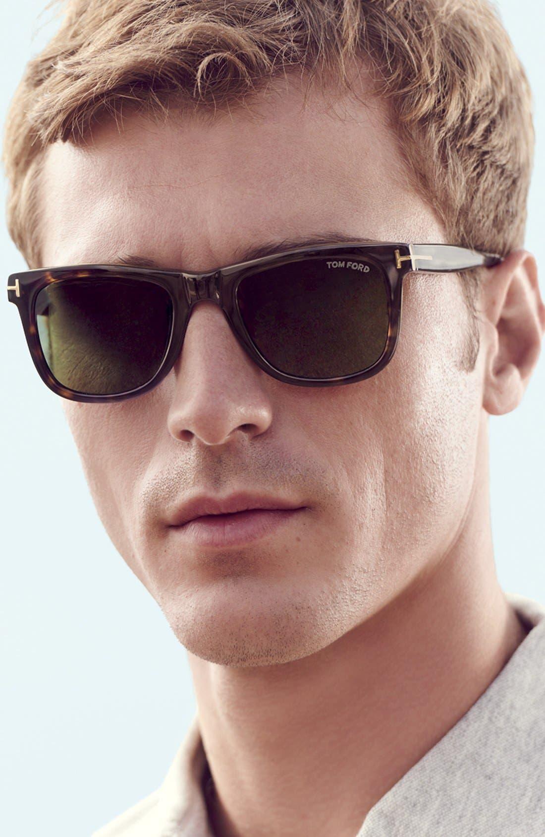 TOM FORD, 'Leo' 52mm Polarized Sunglasses, Alternate thumbnail 4, color, SHINY CLASSIC HAVANA