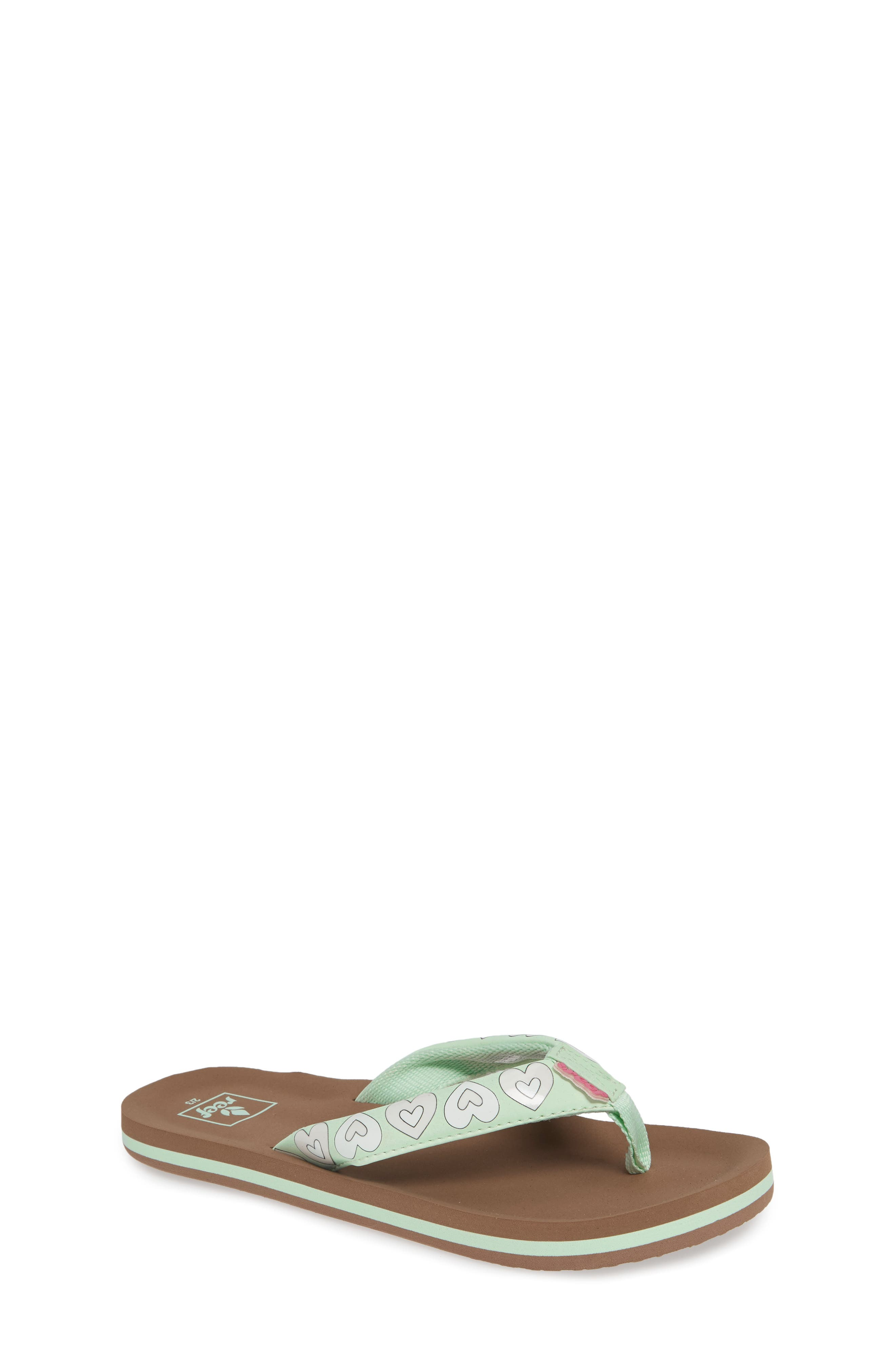 REEF Little Ahi Color Change Flip Flop, Main, color, MINT HEARTS