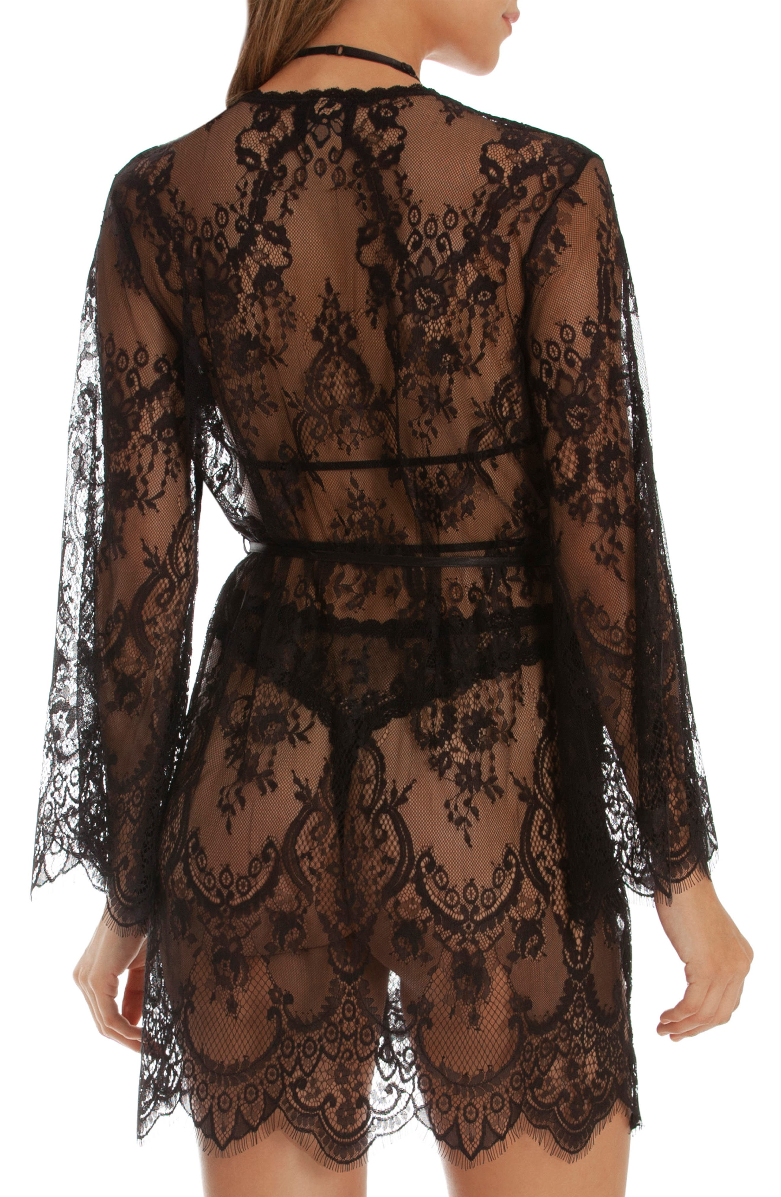 IN BLOOM BY JONQUIL, Lace Wrap, Alternate thumbnail 2, color, BLACK