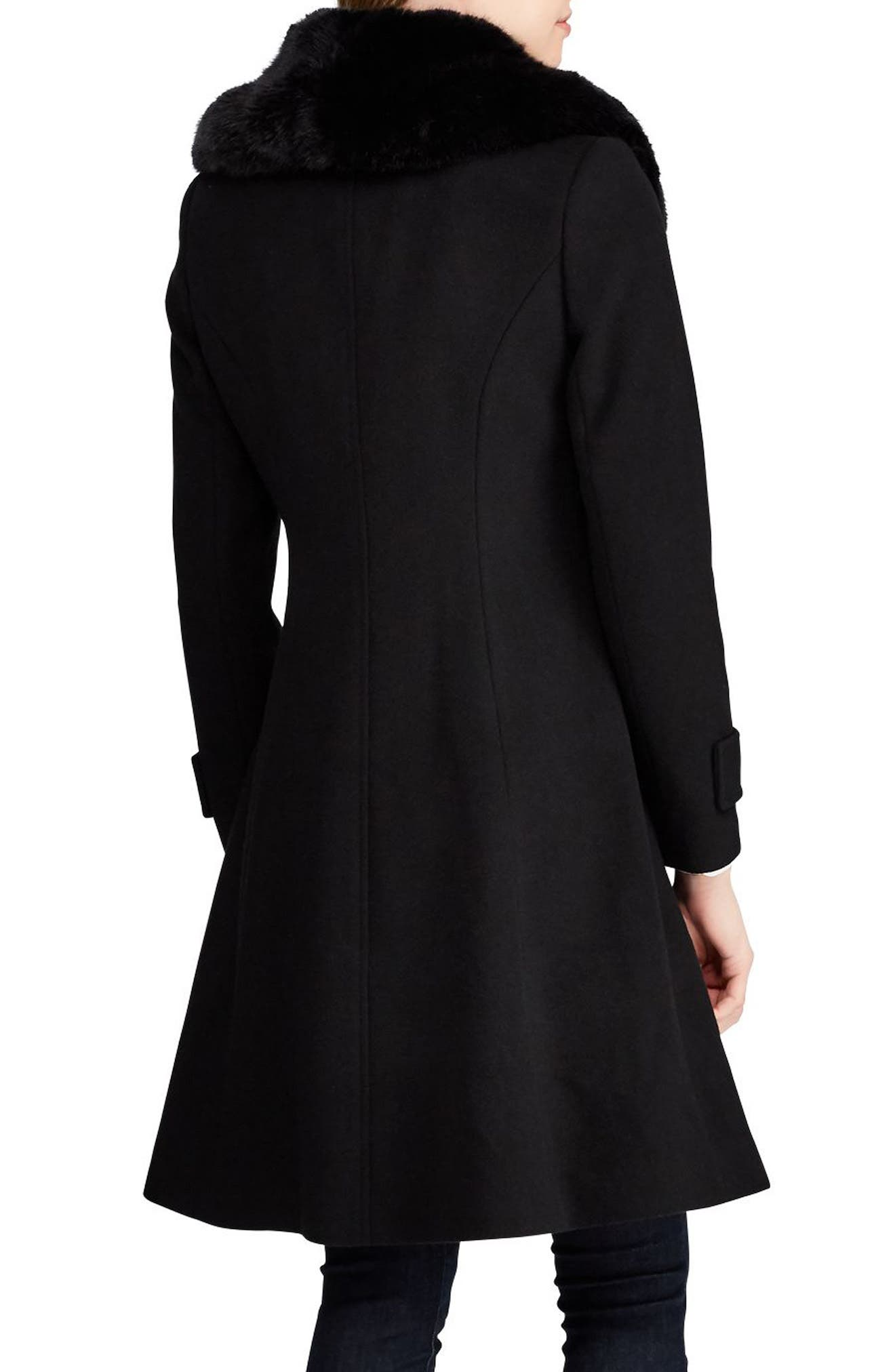 LAUREN RALPH LAUREN, Wool Blend Coat with Faux Fur Trim, Alternate thumbnail 2, color, BLACK