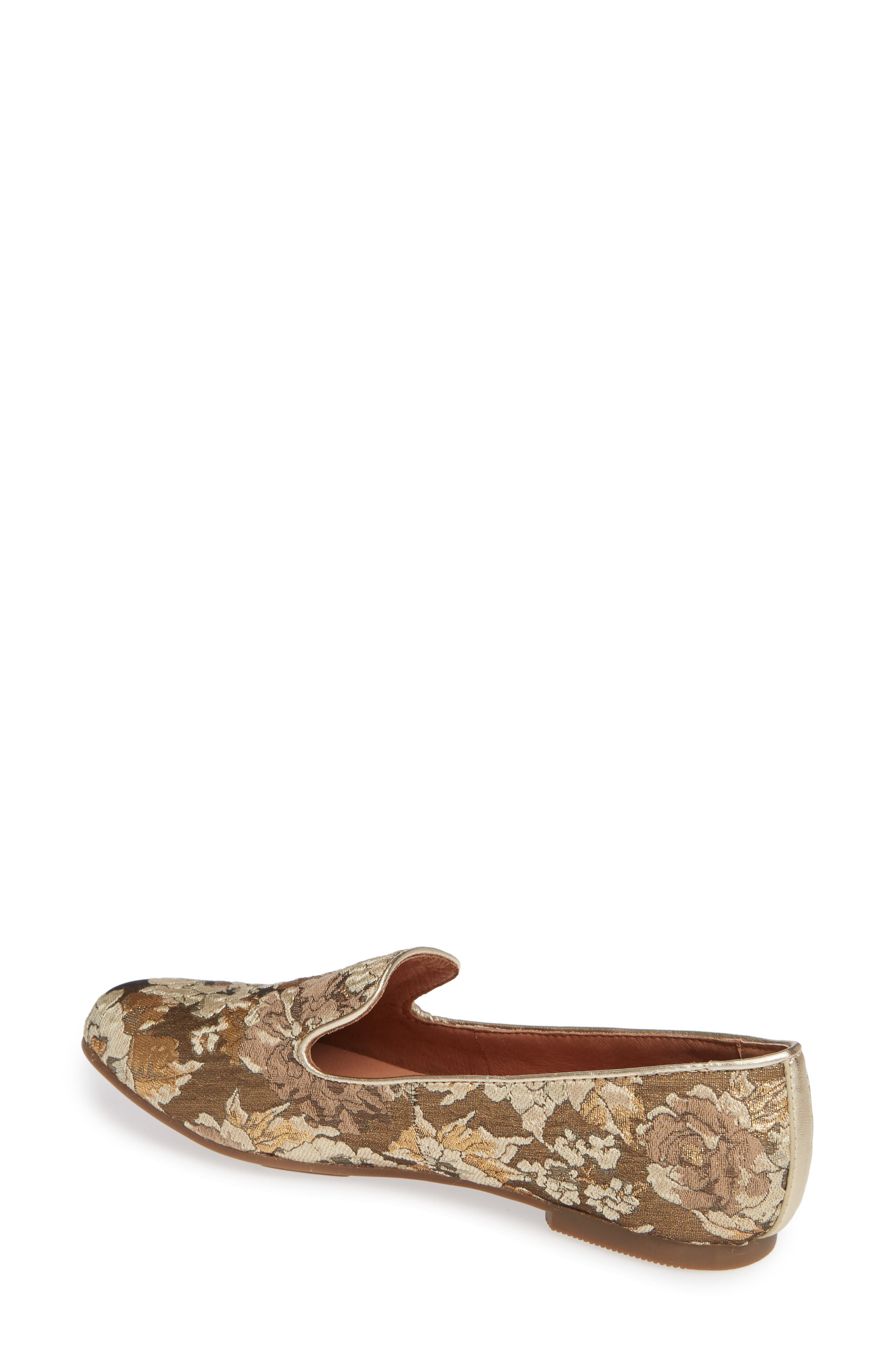 GENTLE SOULS BY KENNETH COLE, Eugene Flat, Alternate thumbnail 2, color, GOLD MULTI FABRIC