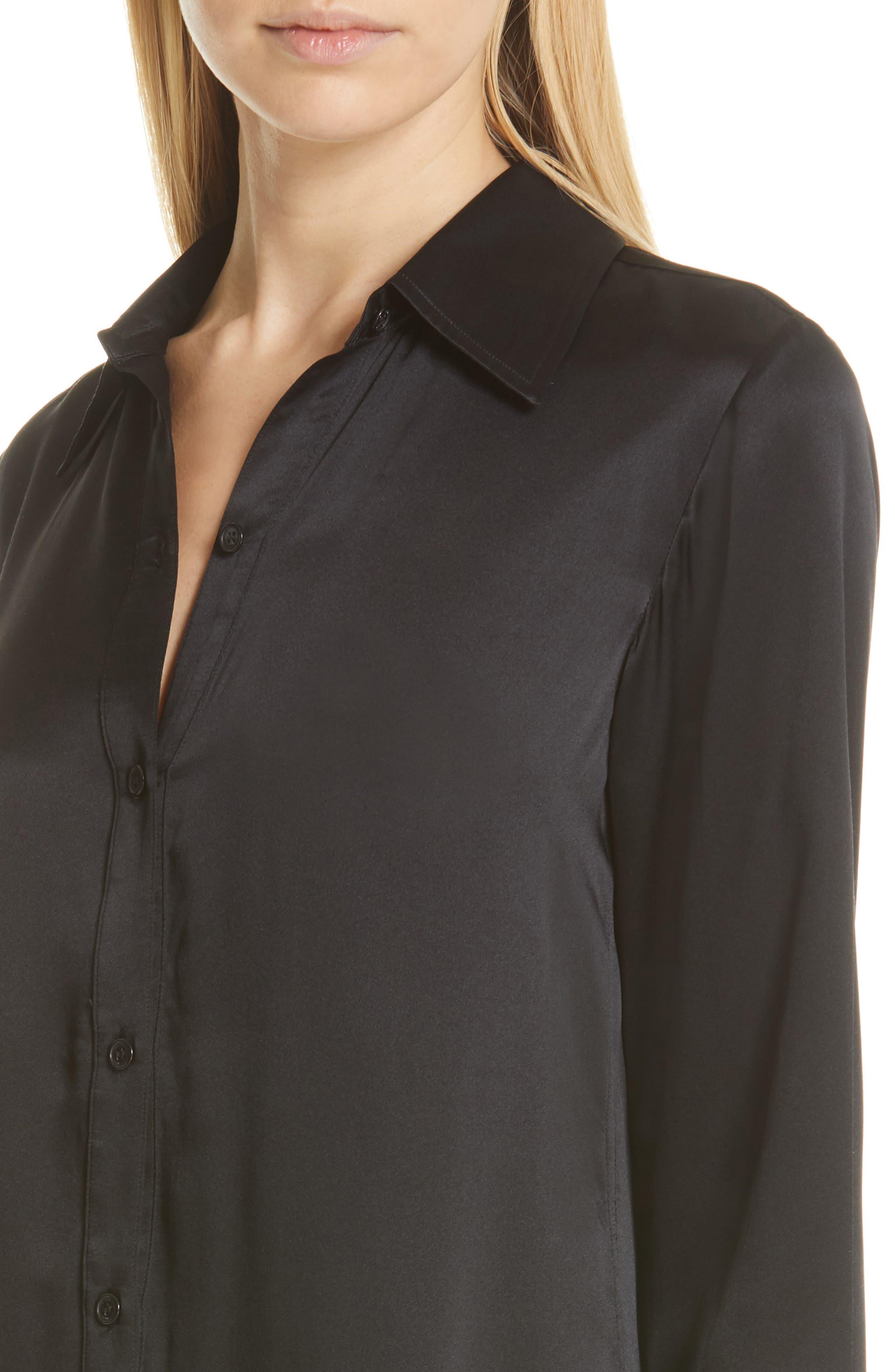 NILI LOTAN, Cassidy Silk Shirtdress, Alternate thumbnail 5, color, BLACK
