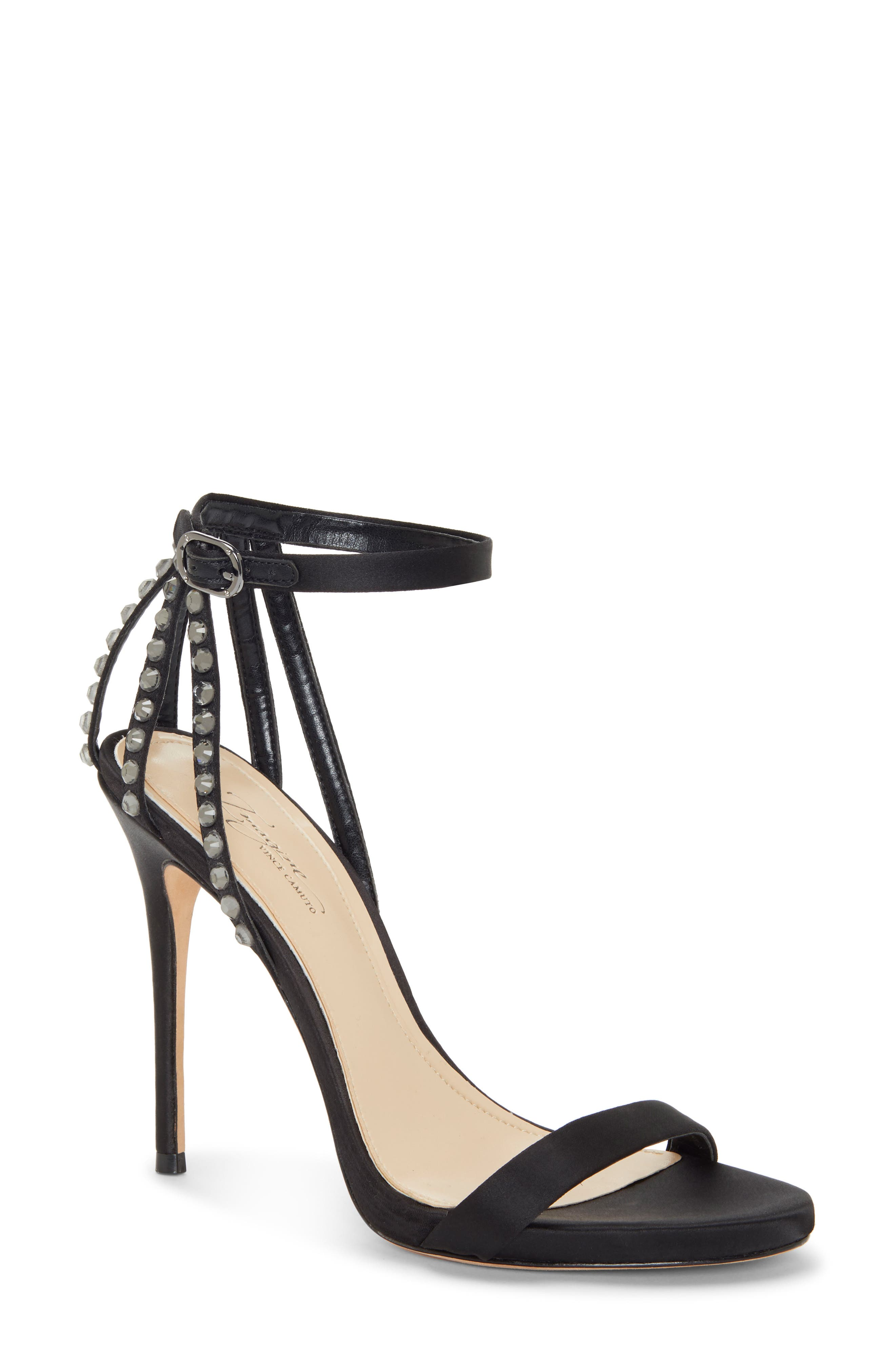 IMAGINE BY VINCE CAMUTO, Daphee Crystal Embellished Sandal, Main thumbnail 1, color, BLACK SATIN