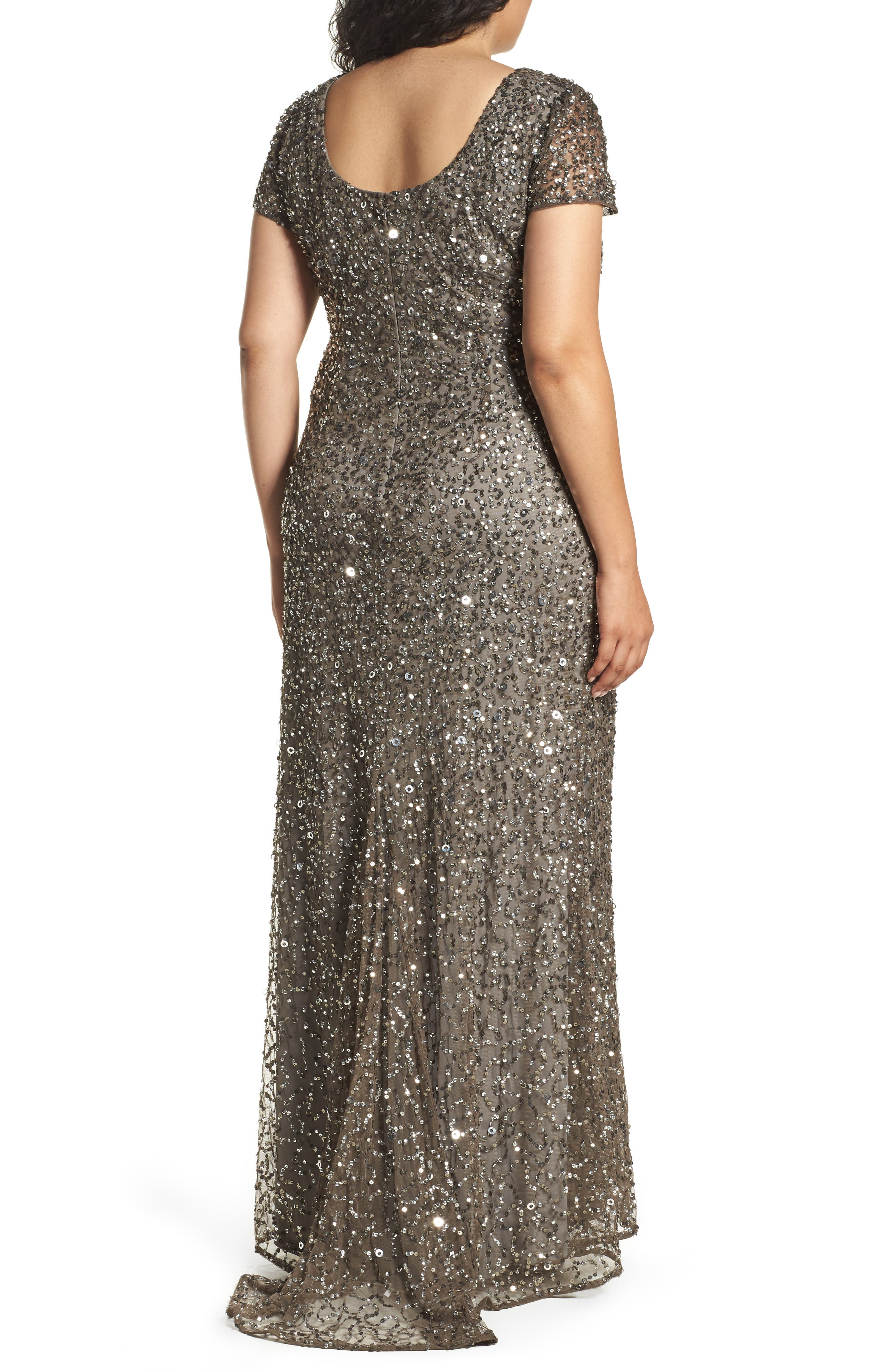 ADRIANNA PAPELL, Embellished Scoop Back Gown, Alternate thumbnail 2, color, 050