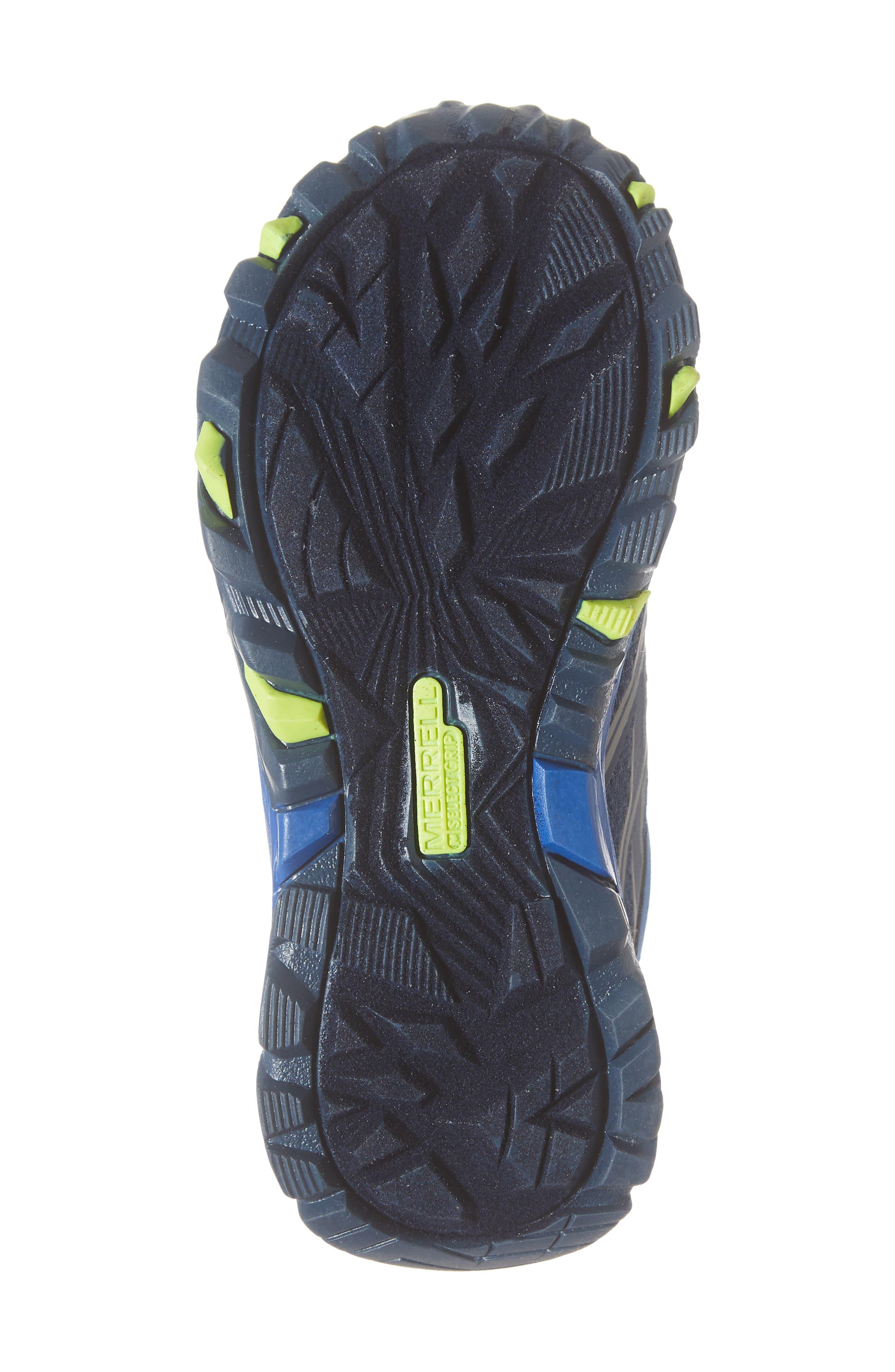 MERRELL, Moab FST Mid Top Waterproof Sneaker Boot, Alternate thumbnail 6, color, NAVY/ COBALT