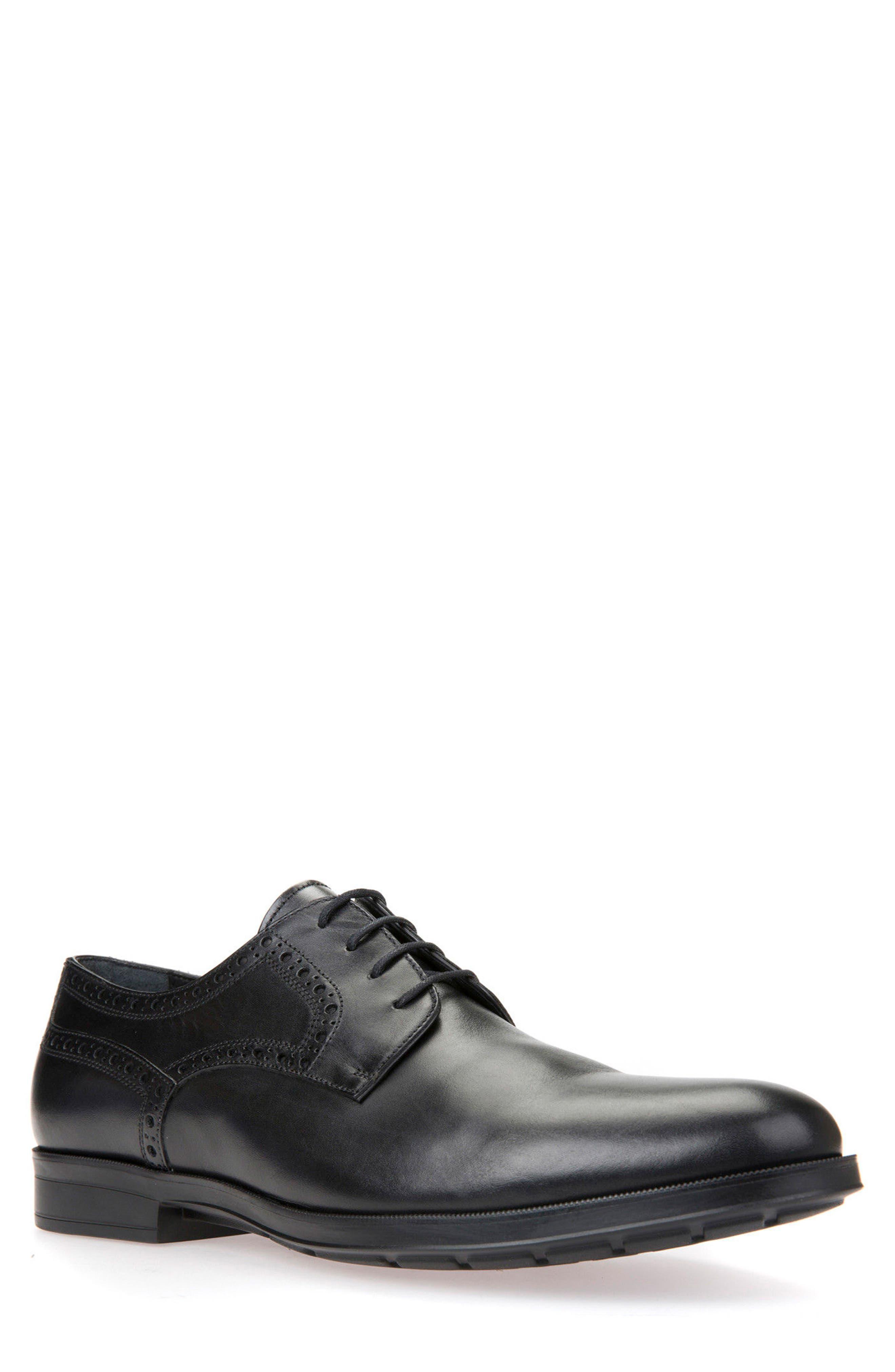 GEOX Hilstone 3 Plain Toe Derby, Main, color, BLACK LEATHER
