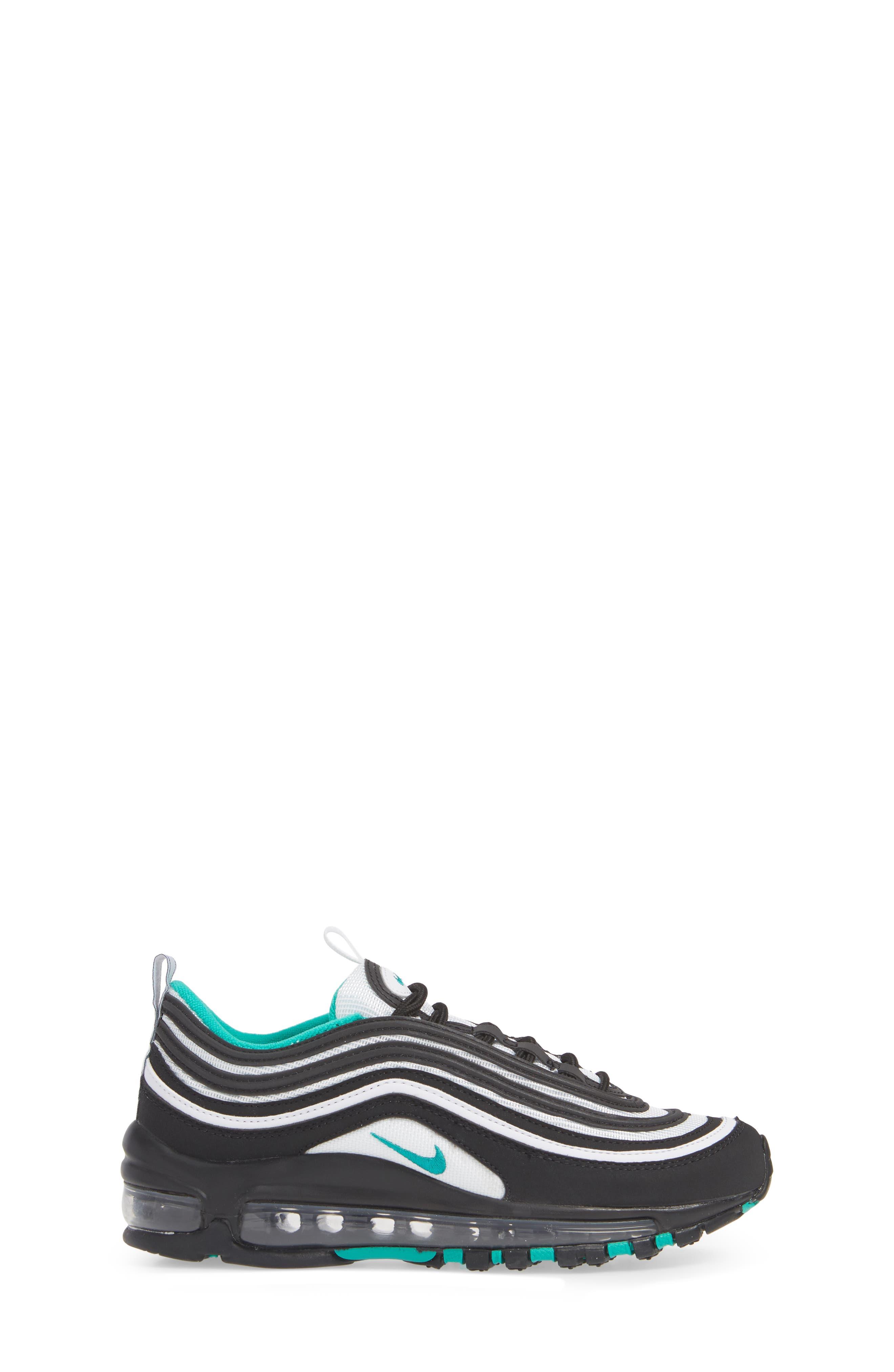 NIKE, Air Max 97 Sneaker, Alternate thumbnail 3, color, BLACK/ CLEAR EMERALD-WHITE