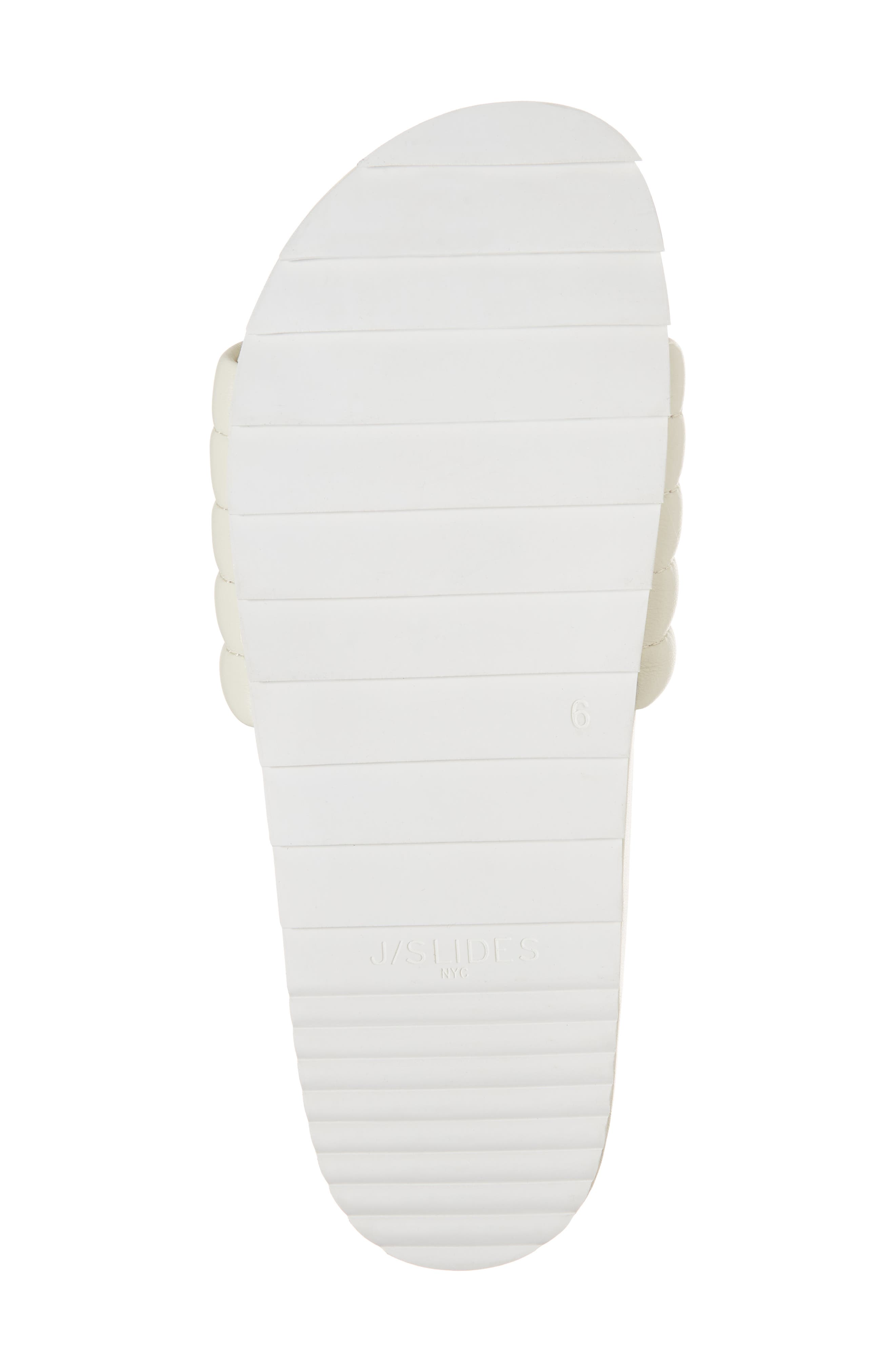 JSLIDES, Eppie Slide Sandal, Alternate thumbnail 6, color, OFF WHITE LEATHER