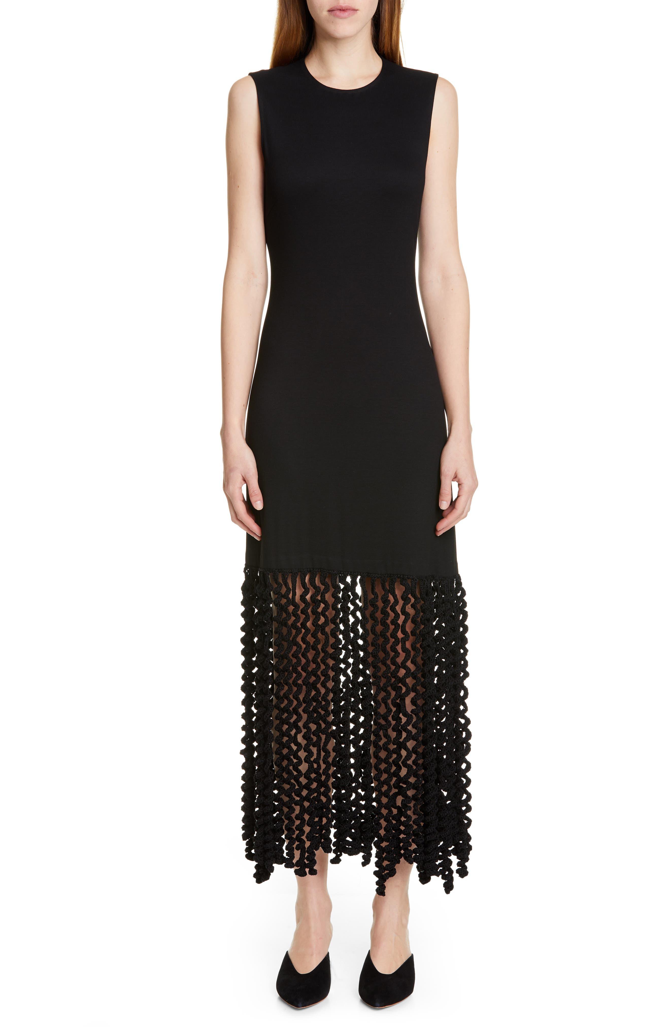 ROSETTA GETTY, Spiral Fringe Maxi Dress, Main thumbnail 1, color, BLACK