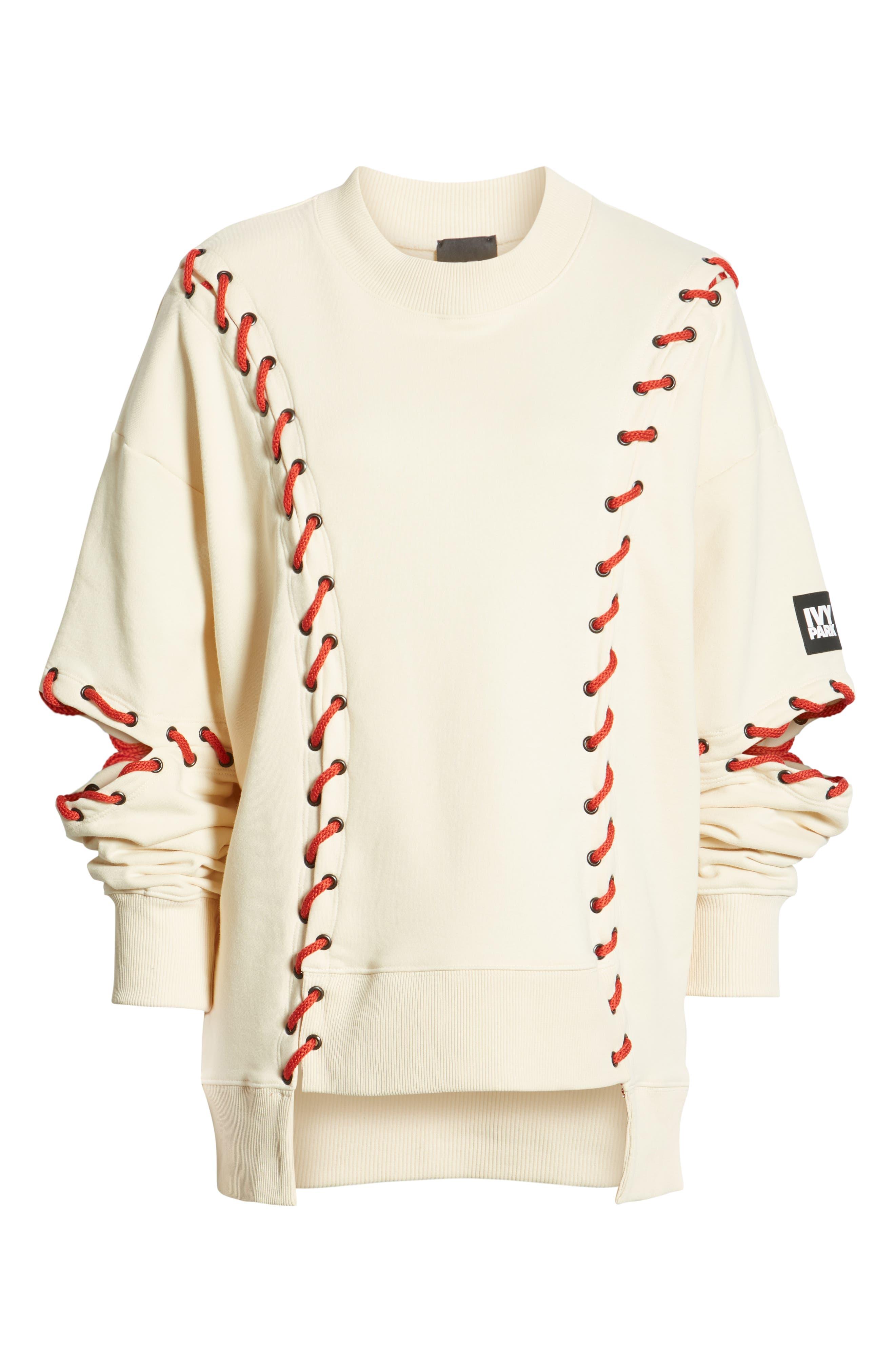 IVY PARK<SUP>®</SUP>, Baseball Stitch Sweatshirt, Alternate thumbnail 7, color, BRAZILIAN SAND