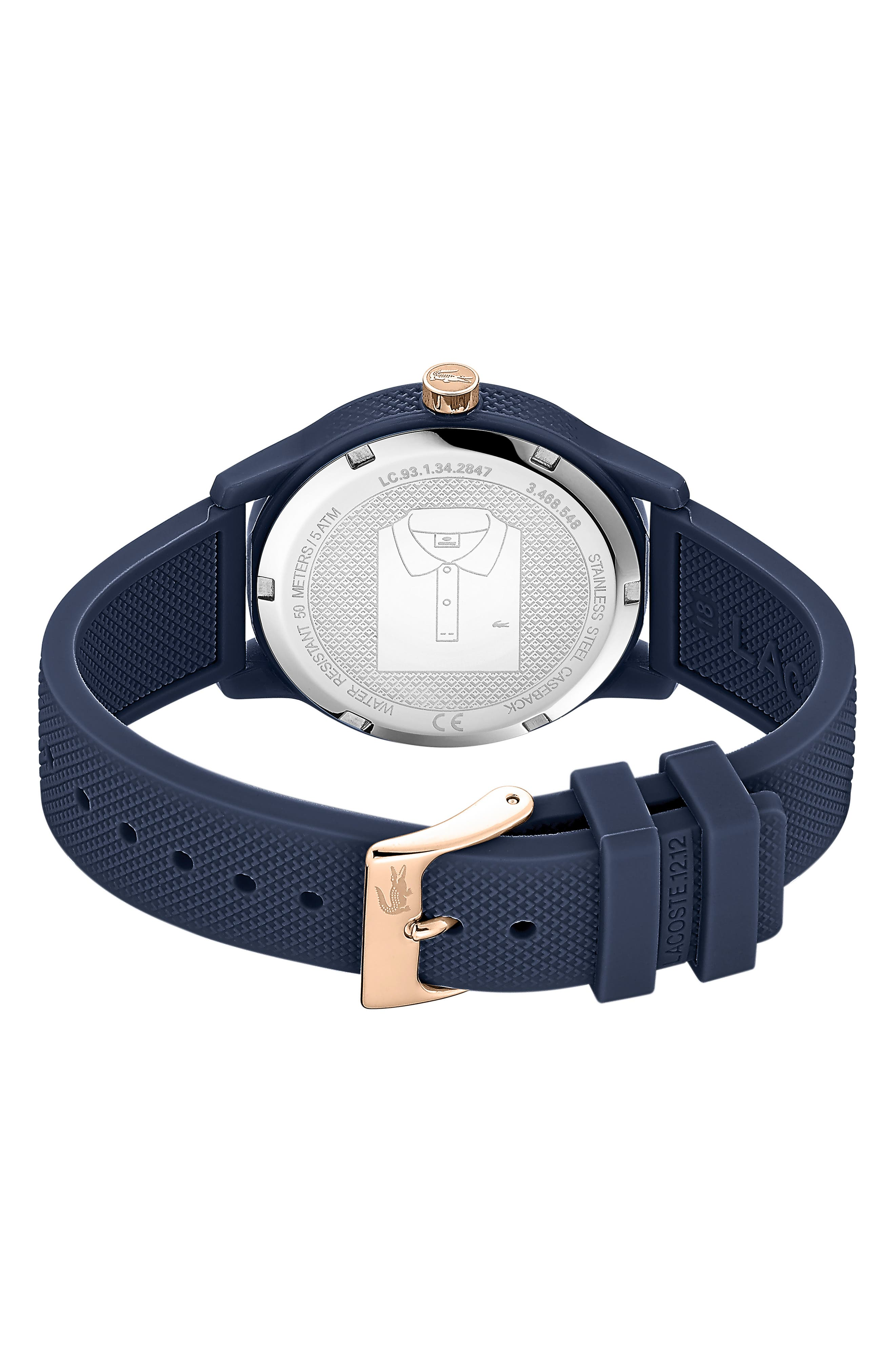 LACOSTE, 12.12 Silicone Strap Watch, 36mm, Alternate thumbnail 2, color, BLUE