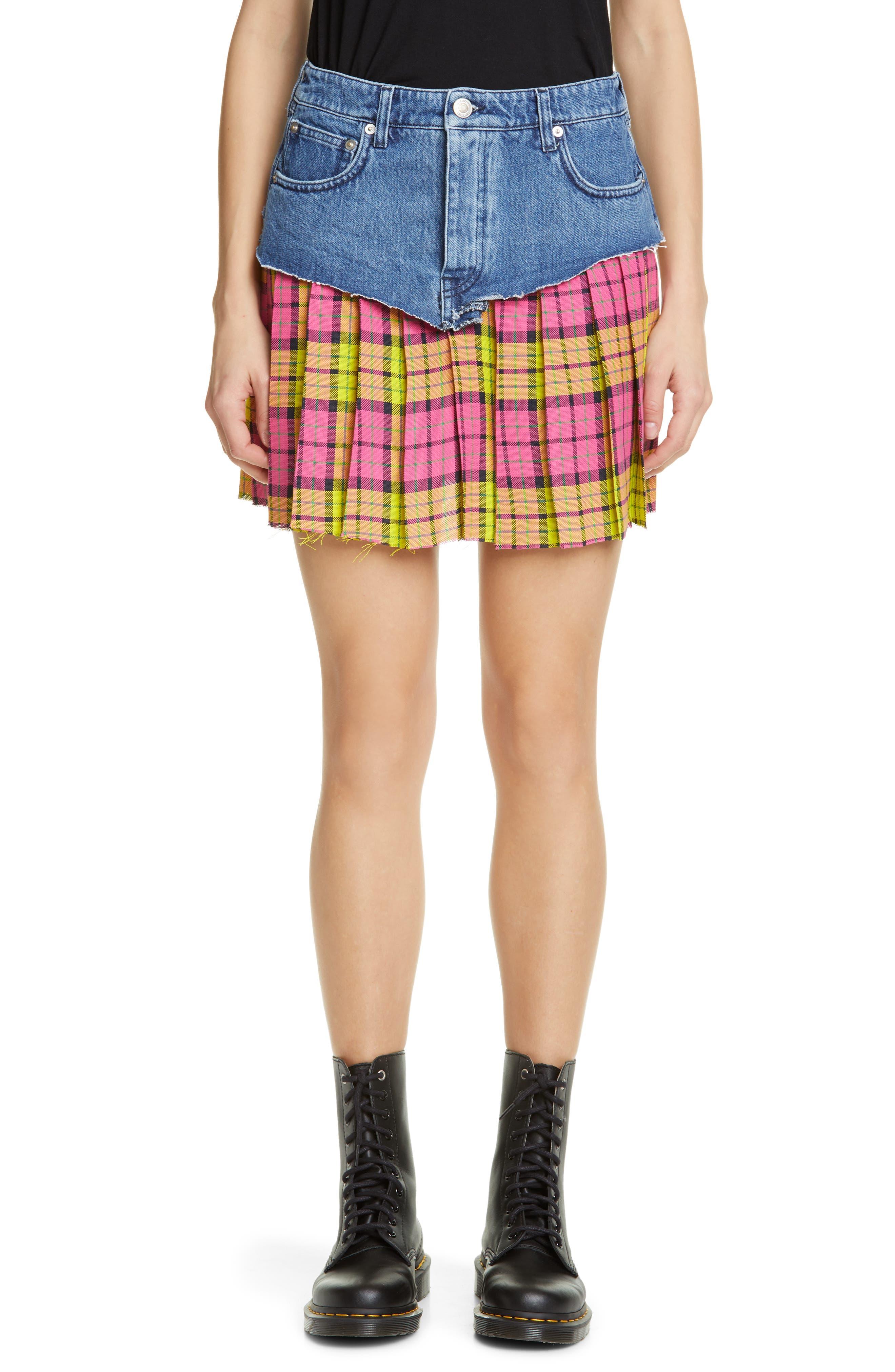 VETEMENTS, Schoolgirl Skirt, Main thumbnail 1, color, BLUE