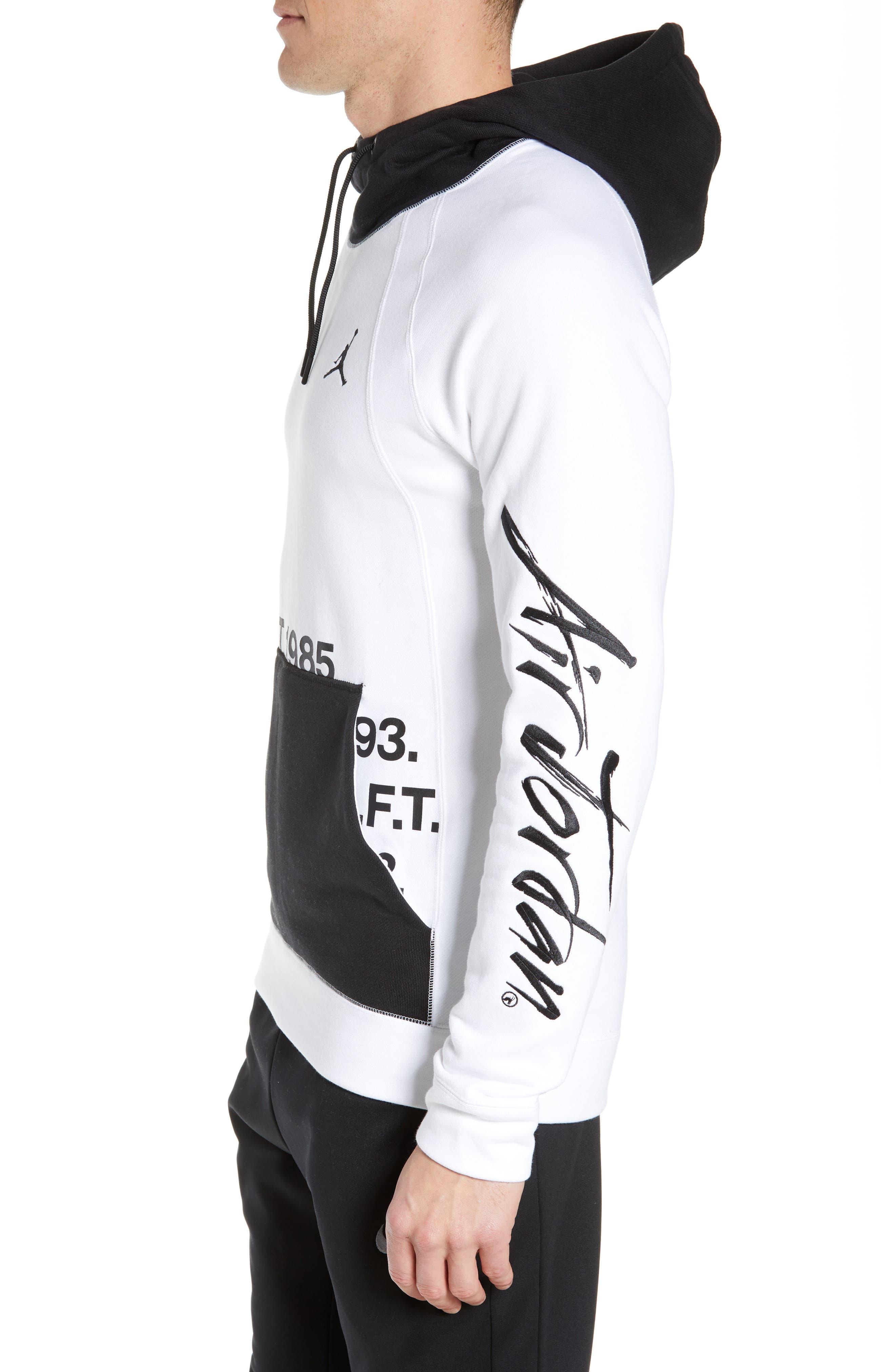 JORDAN, Sportswear Greatest Fleece Pullover Hoodie, Alternate thumbnail 4, color, WHITE/ BLACK