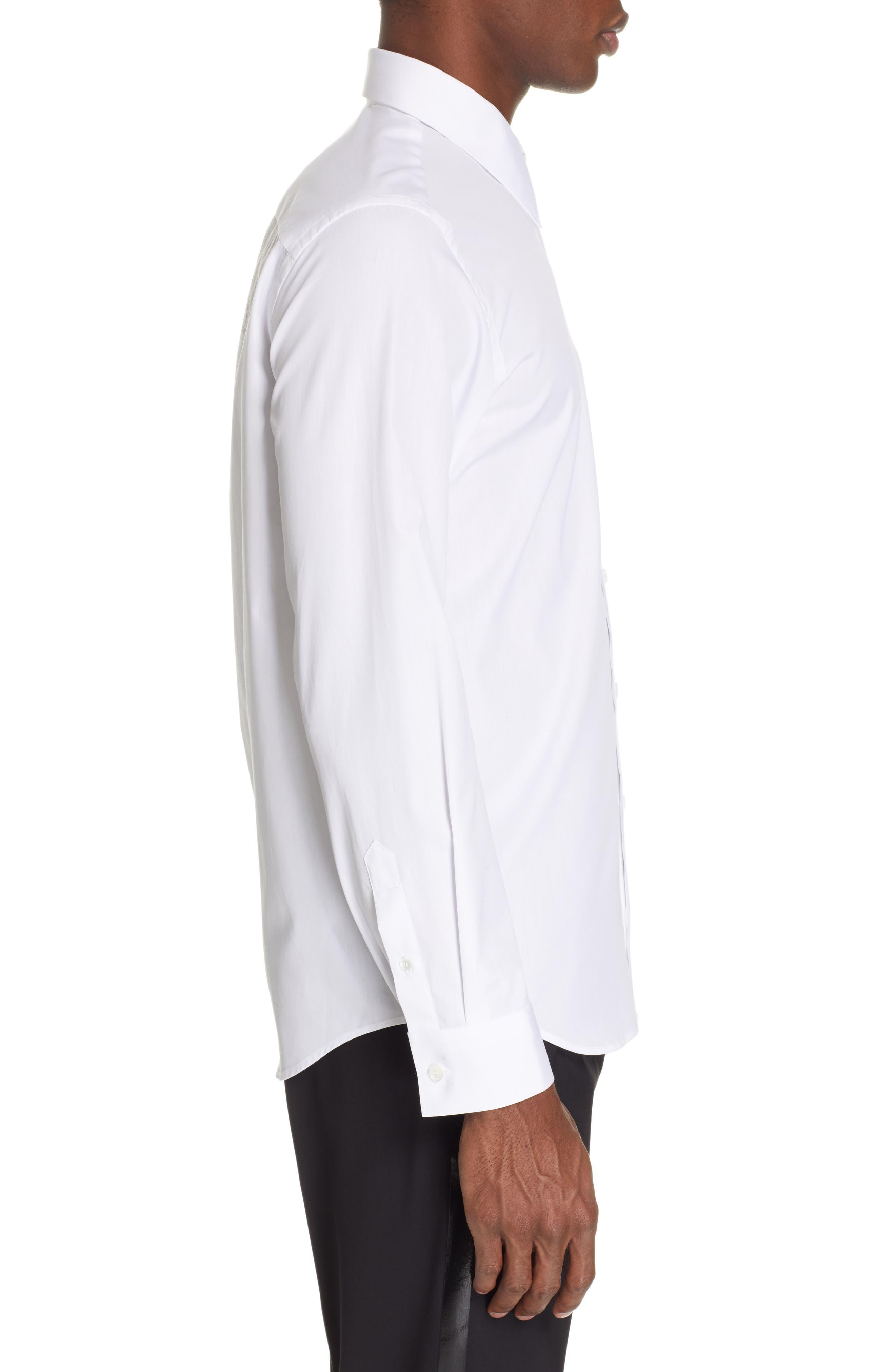 HELMUT LANG, Logo Back Long Sleeve Woven Shirt, Alternate thumbnail 4, color, WHITE AND BLACK