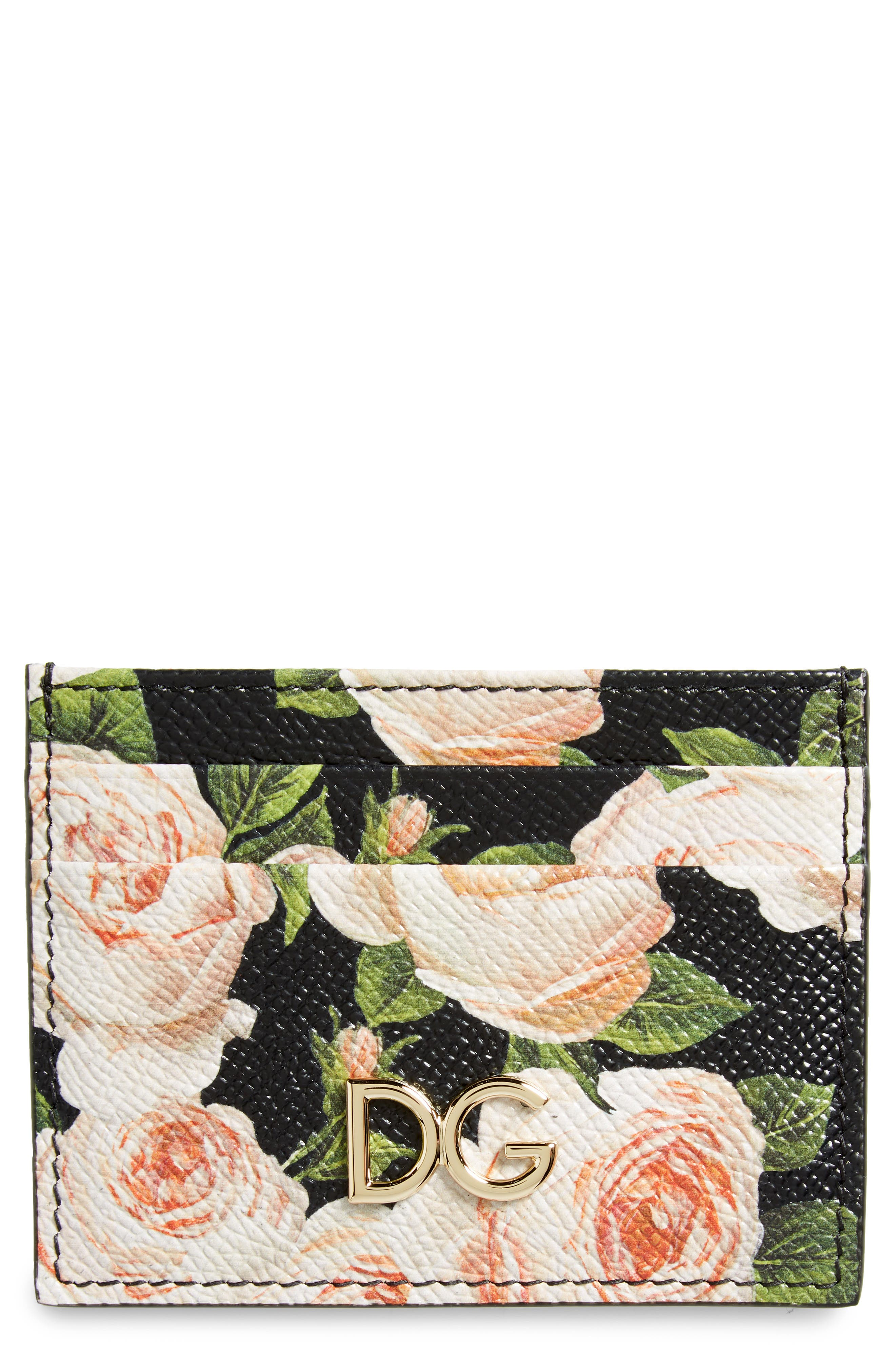 DOLCE&GABBANA Rose Print Leather Card Case, Main, color, 001