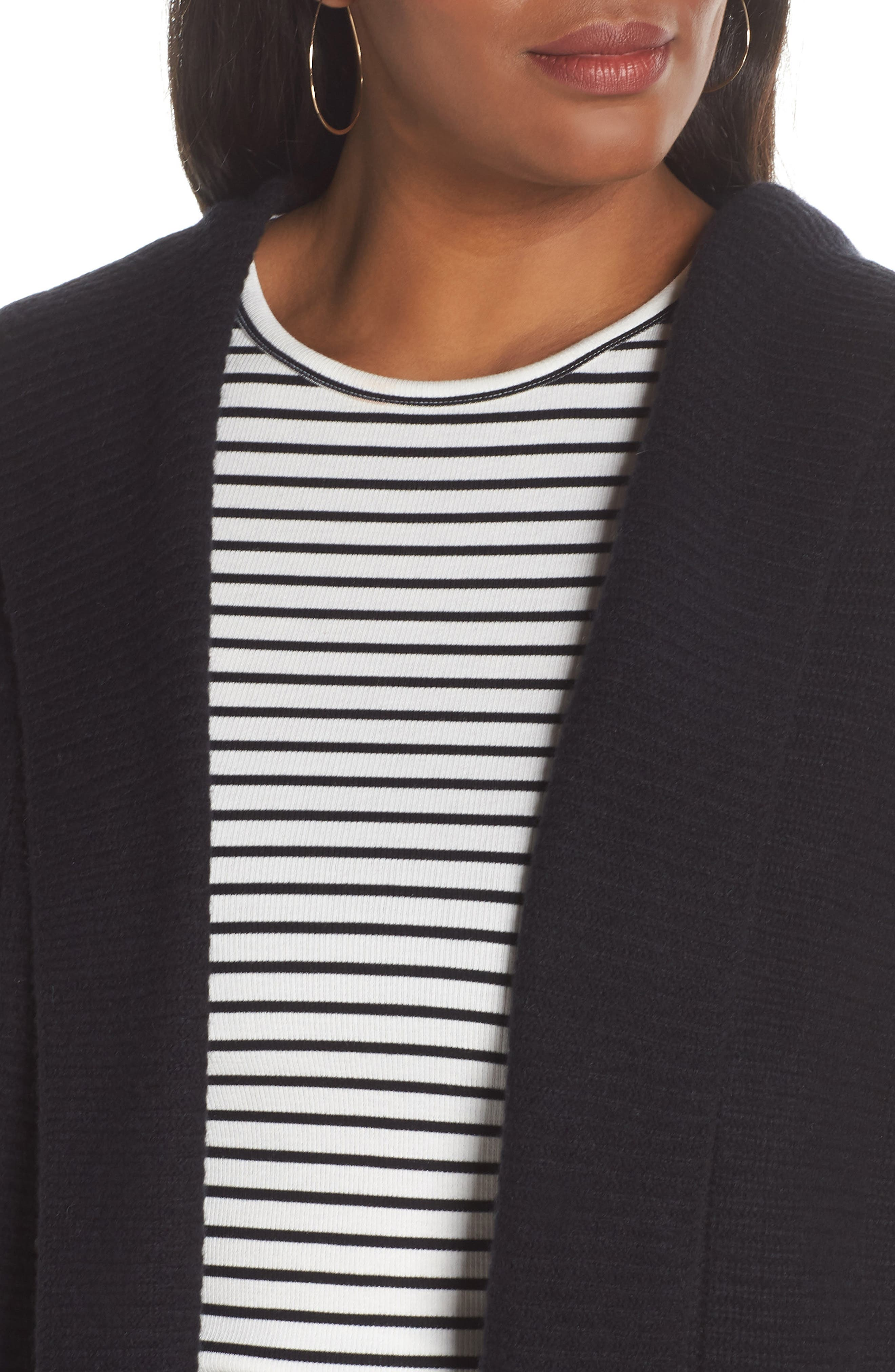 HALOGEN<SUP>®</SUP>, Hooded Wool & Cashmere Cardigan, Alternate thumbnail 4, color, 001