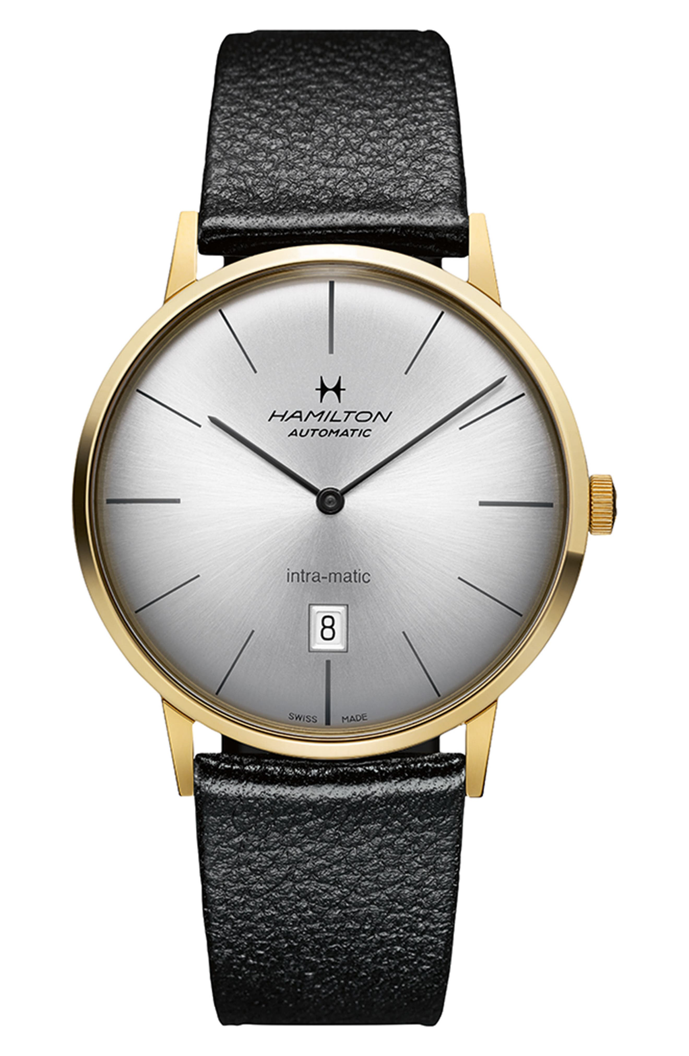 HAMILTON Intra-Matic Automatic Leather Strap Watch, 42mm, Main, color, BLACK/ SILVER/ GOLD