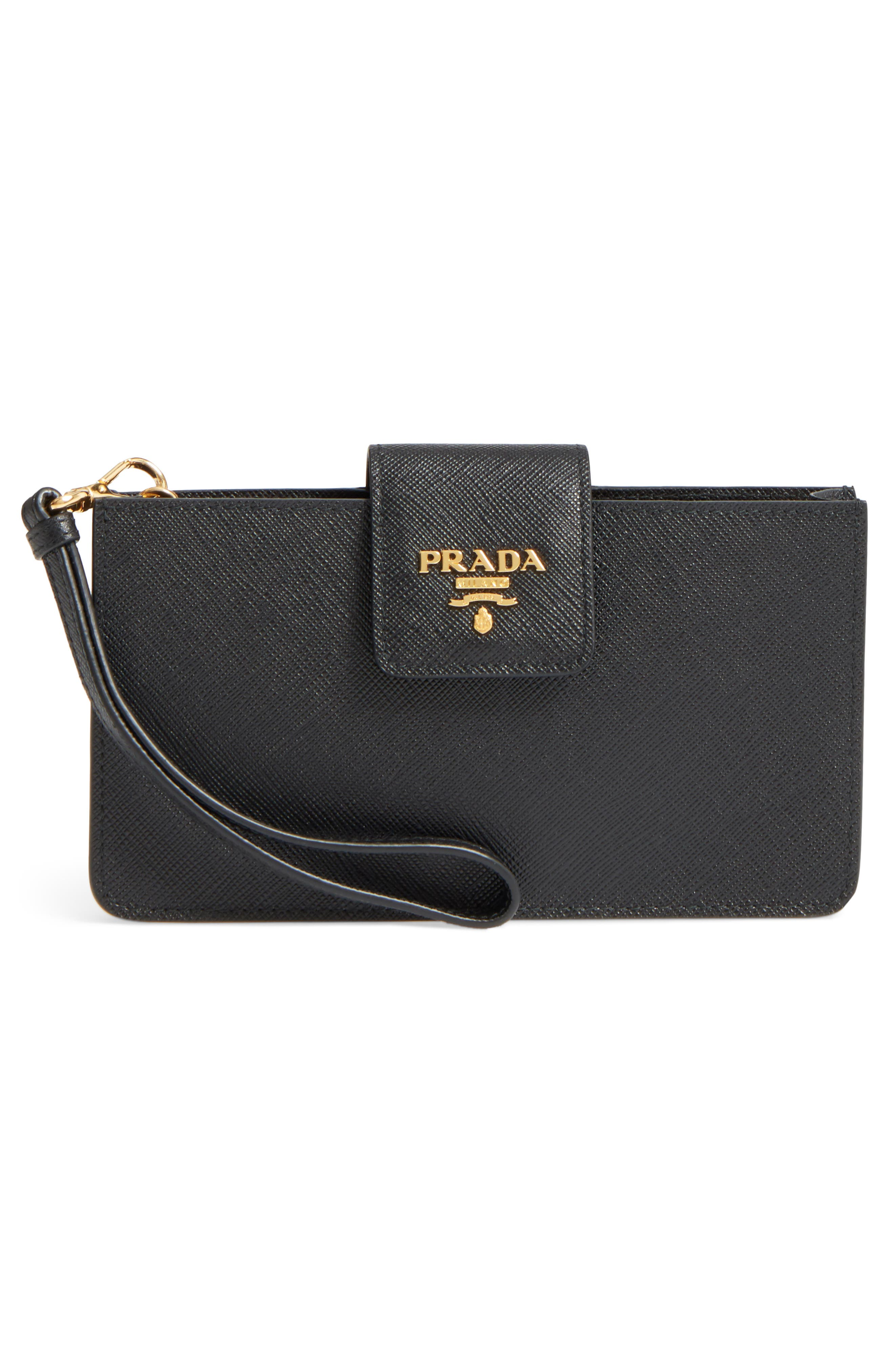 PRADA, Saffiano Leather Phone Wallet on a Chain, Alternate thumbnail 3, color, 001