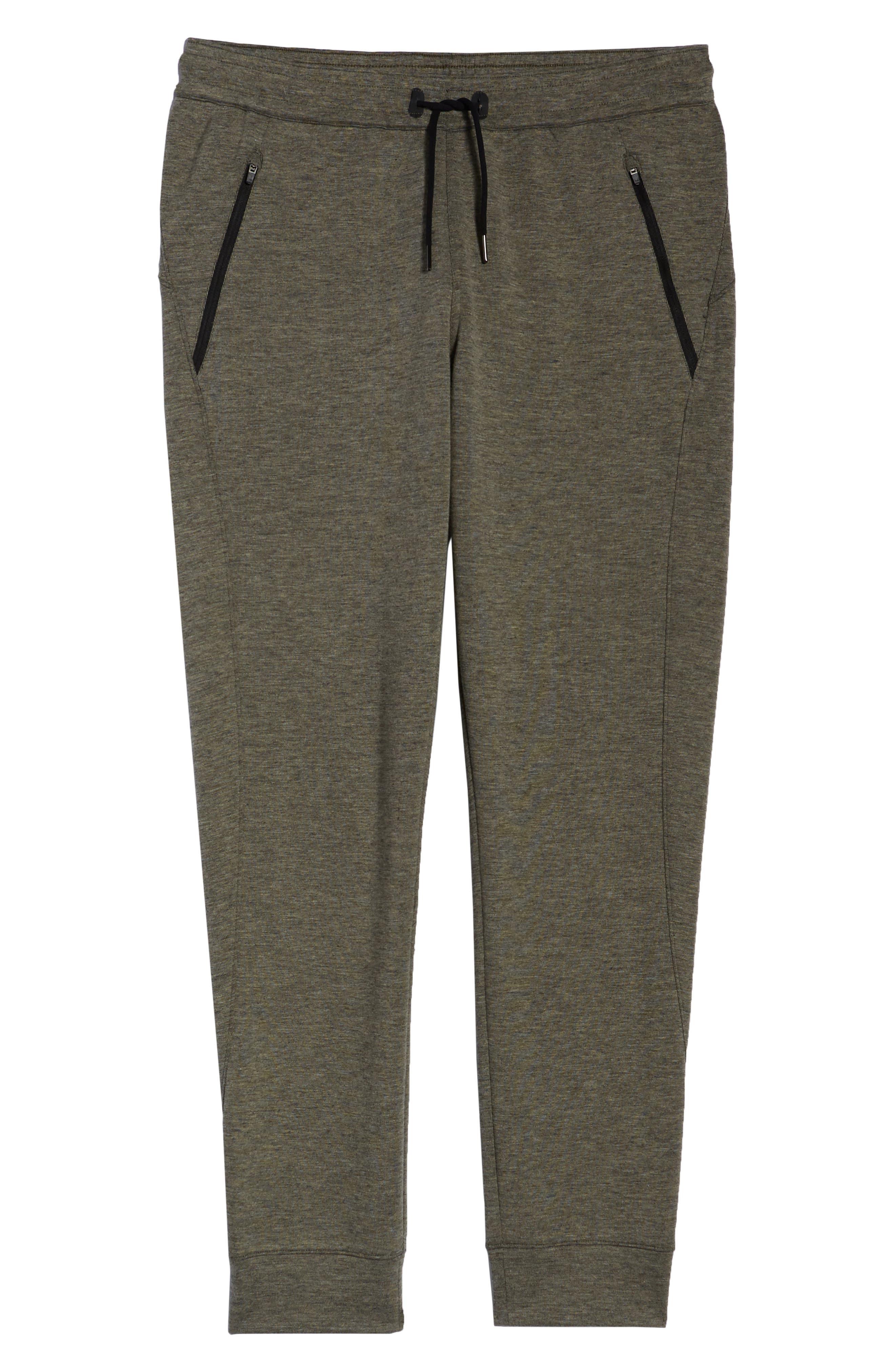 ZELLA, Magnetite Fleece Jogger Pants, Alternate thumbnail 7, color, GREEN VETIVER MELANGE