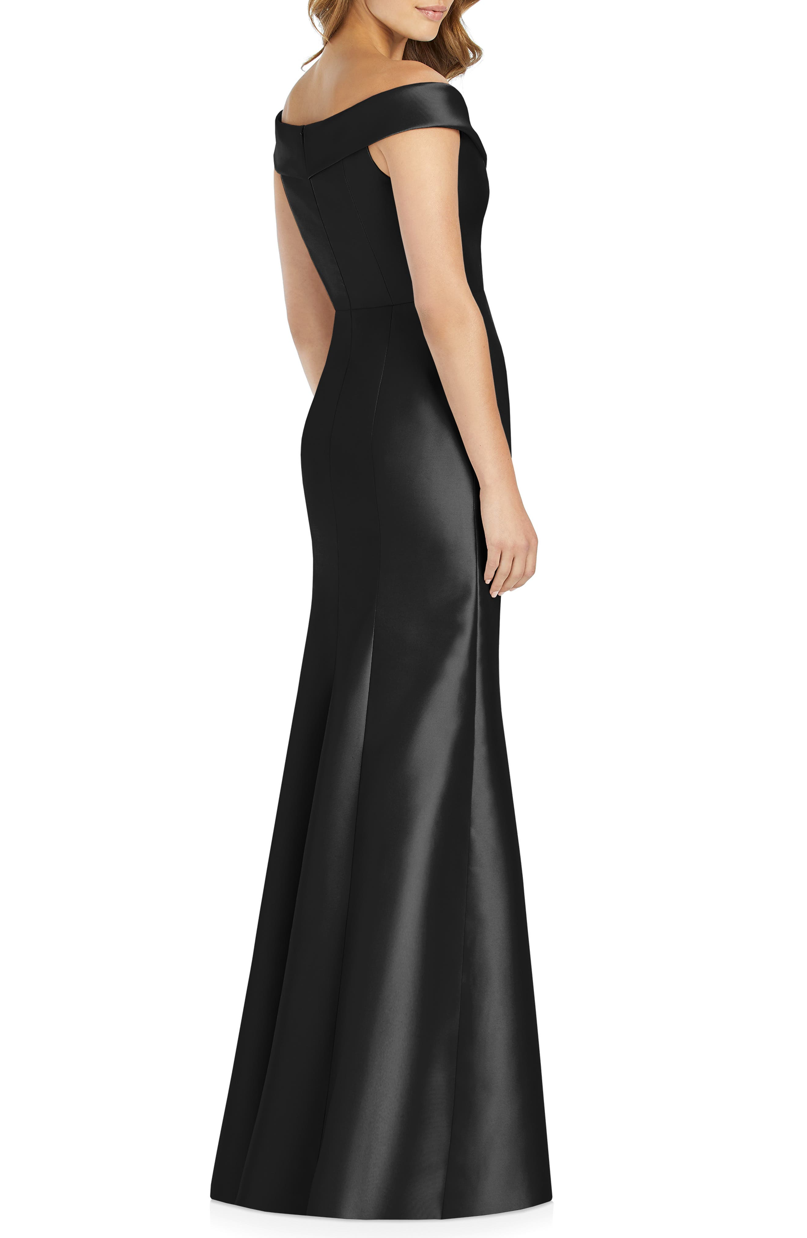 ALFRED SUNG, Portrait Collar Satin Gown, Alternate thumbnail 2, color, BLACK