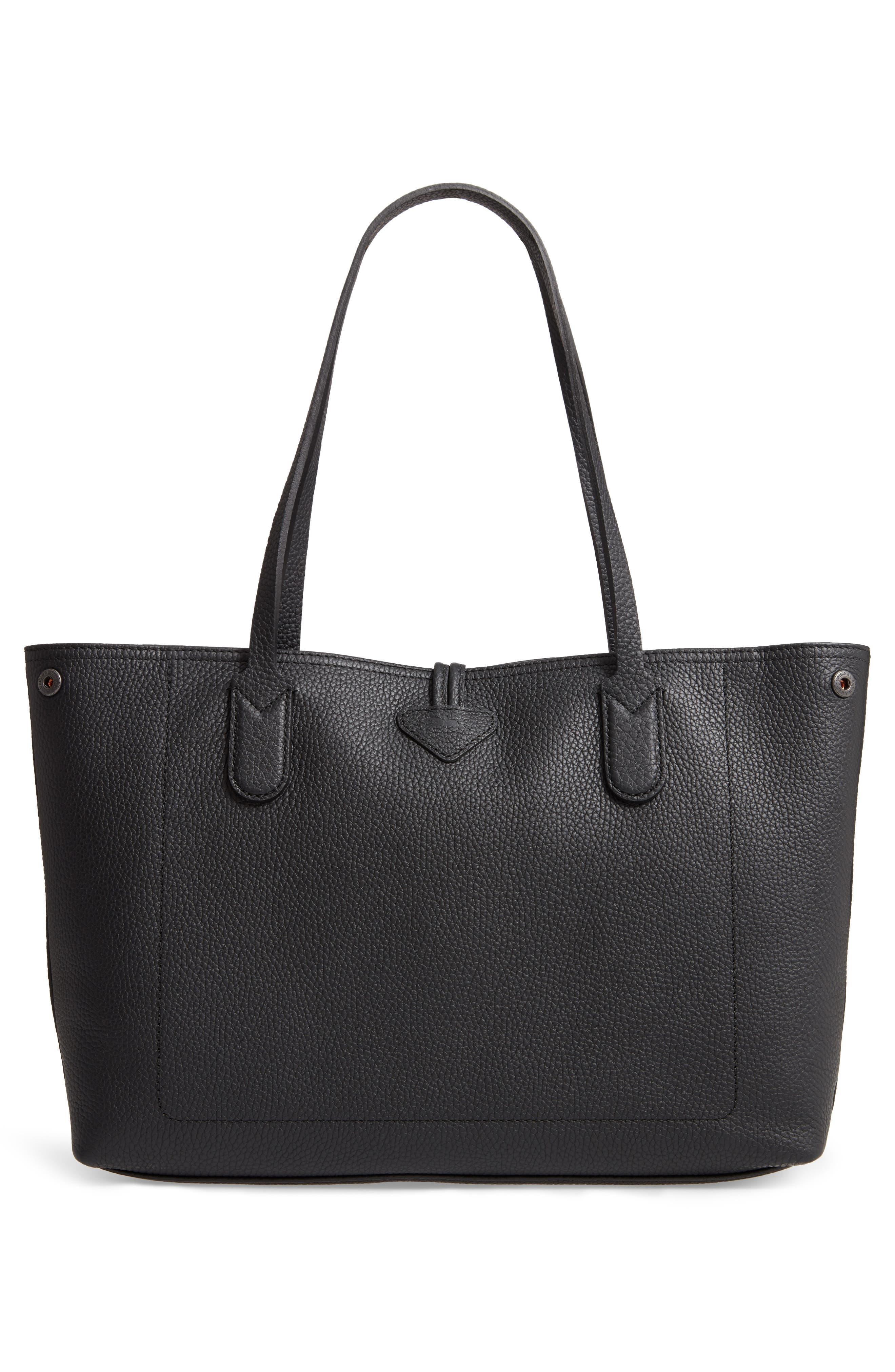LONGCHAMP, Roseau Essential Mid Leather Tote, Alternate thumbnail 5, color, BLACK