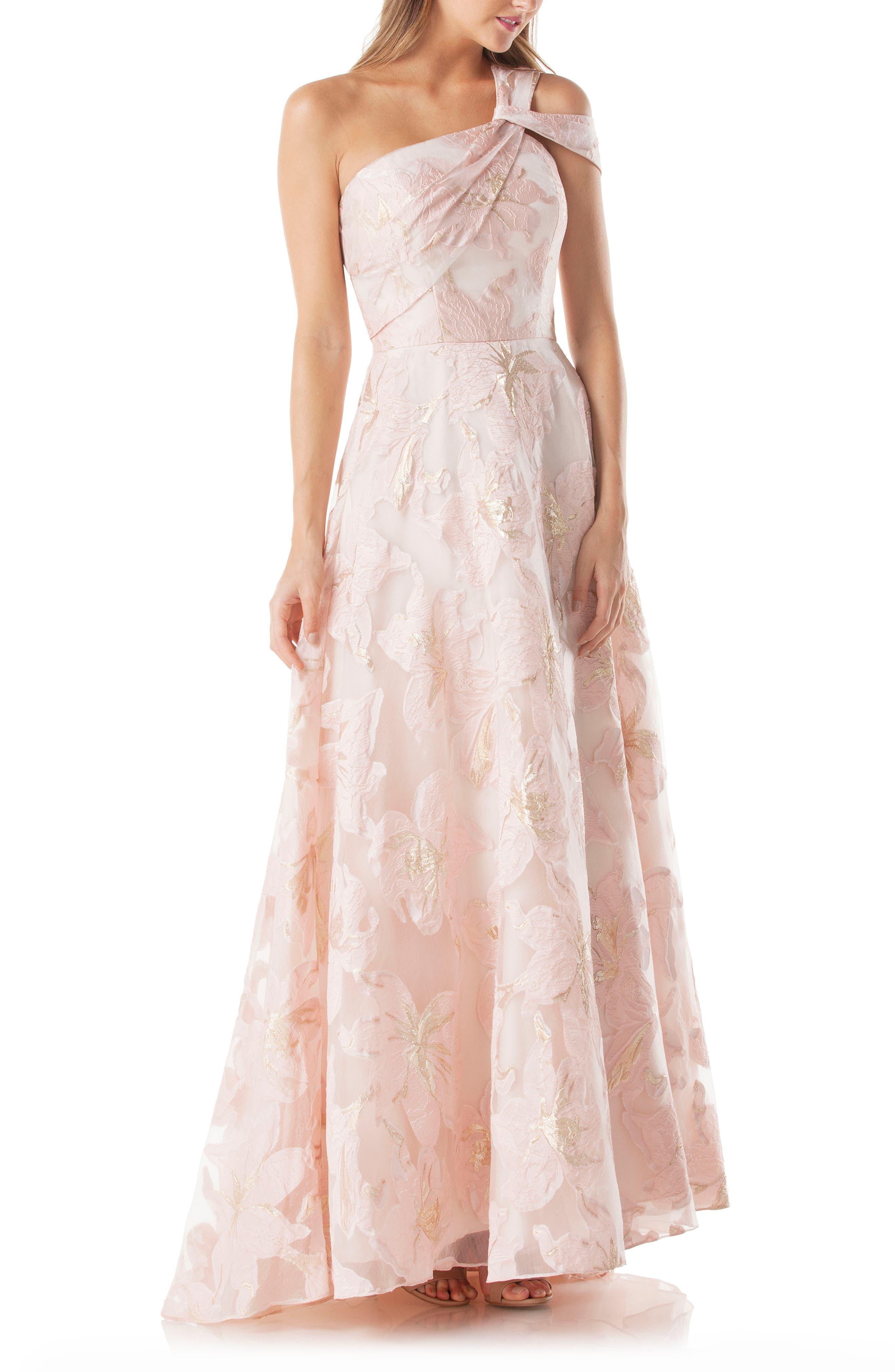 Carmen Marc Valvo Infusion Floral One-Shoulder Ballgown, Pink