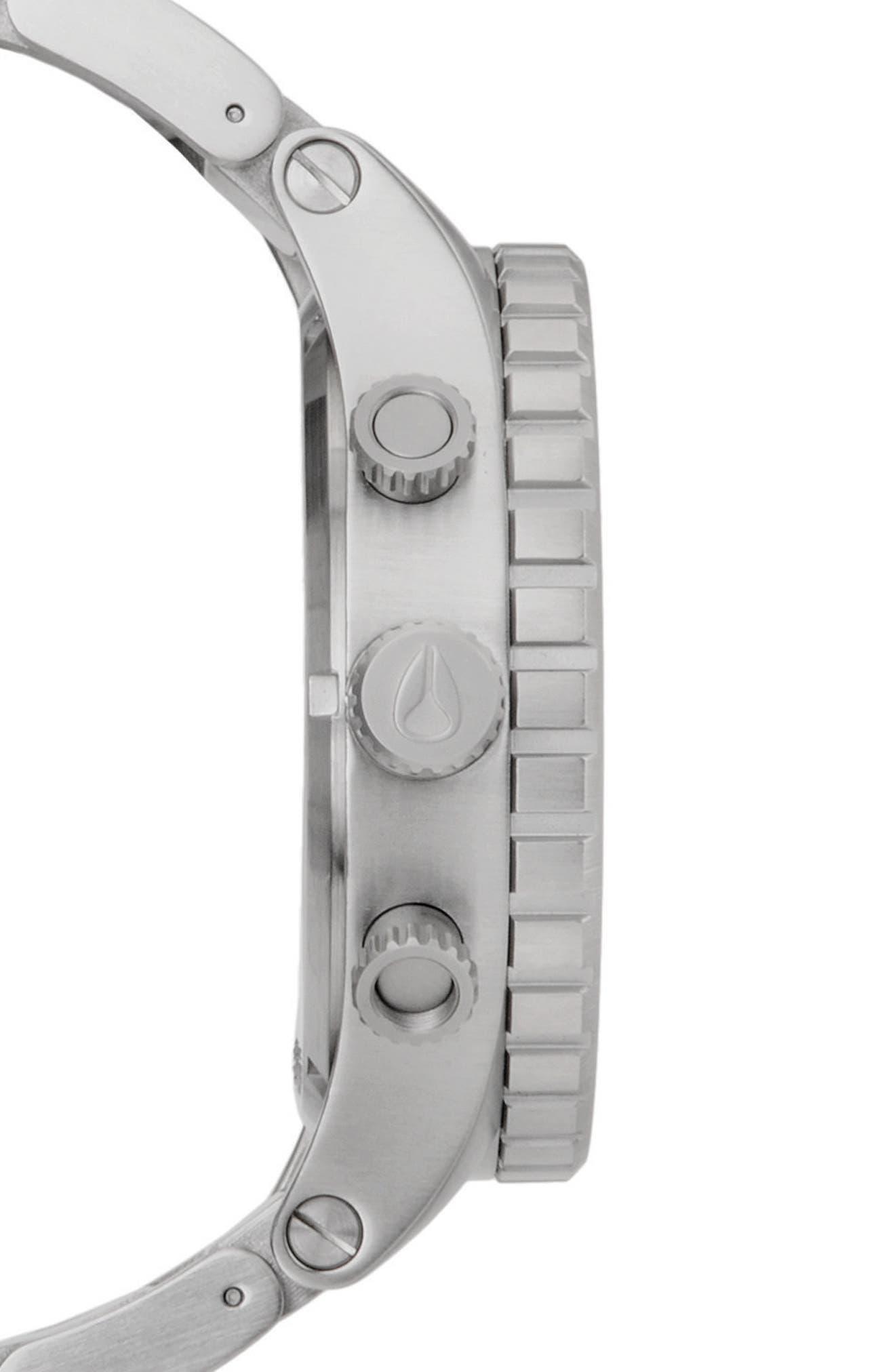 NIXON, 'The 51-30 Chrono' Watch, 51mm, Alternate thumbnail 3, color, SILVER/ BLACK/ SILVER