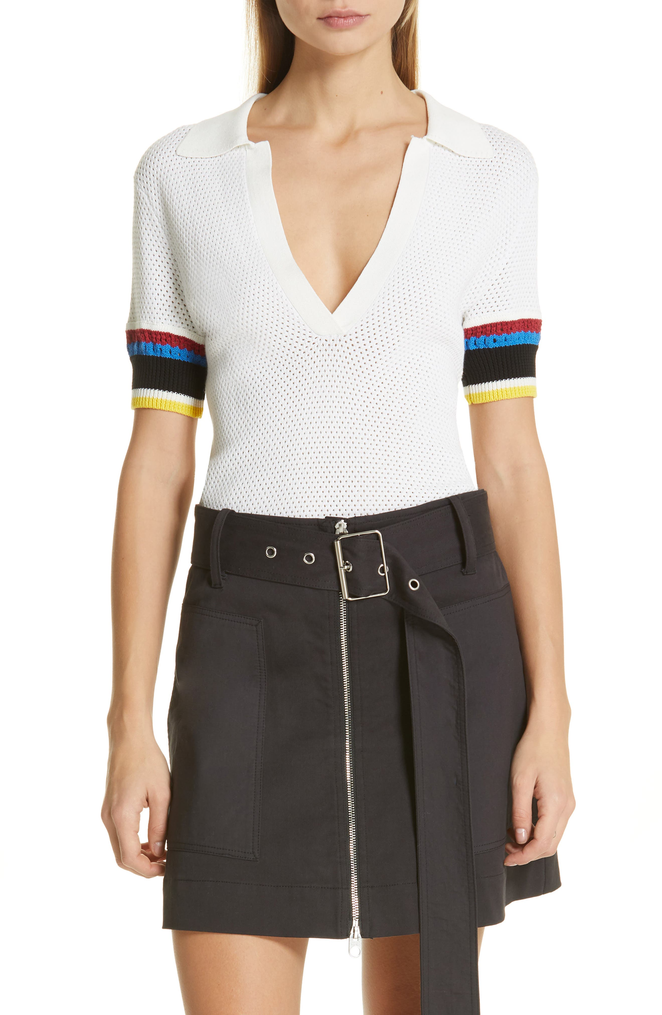 PROENZA SCHOULER, PSWL Stripe Sleeve Polo Top, Main thumbnail 1, color, OFF WHITE