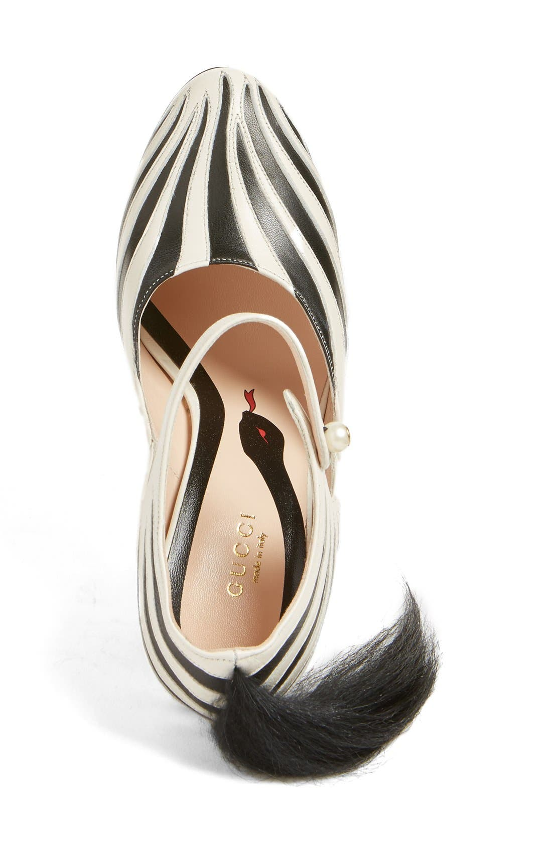 GUCCI, 'Lesley' Zebra Stripe Pump, Alternate thumbnail 3, color, 124