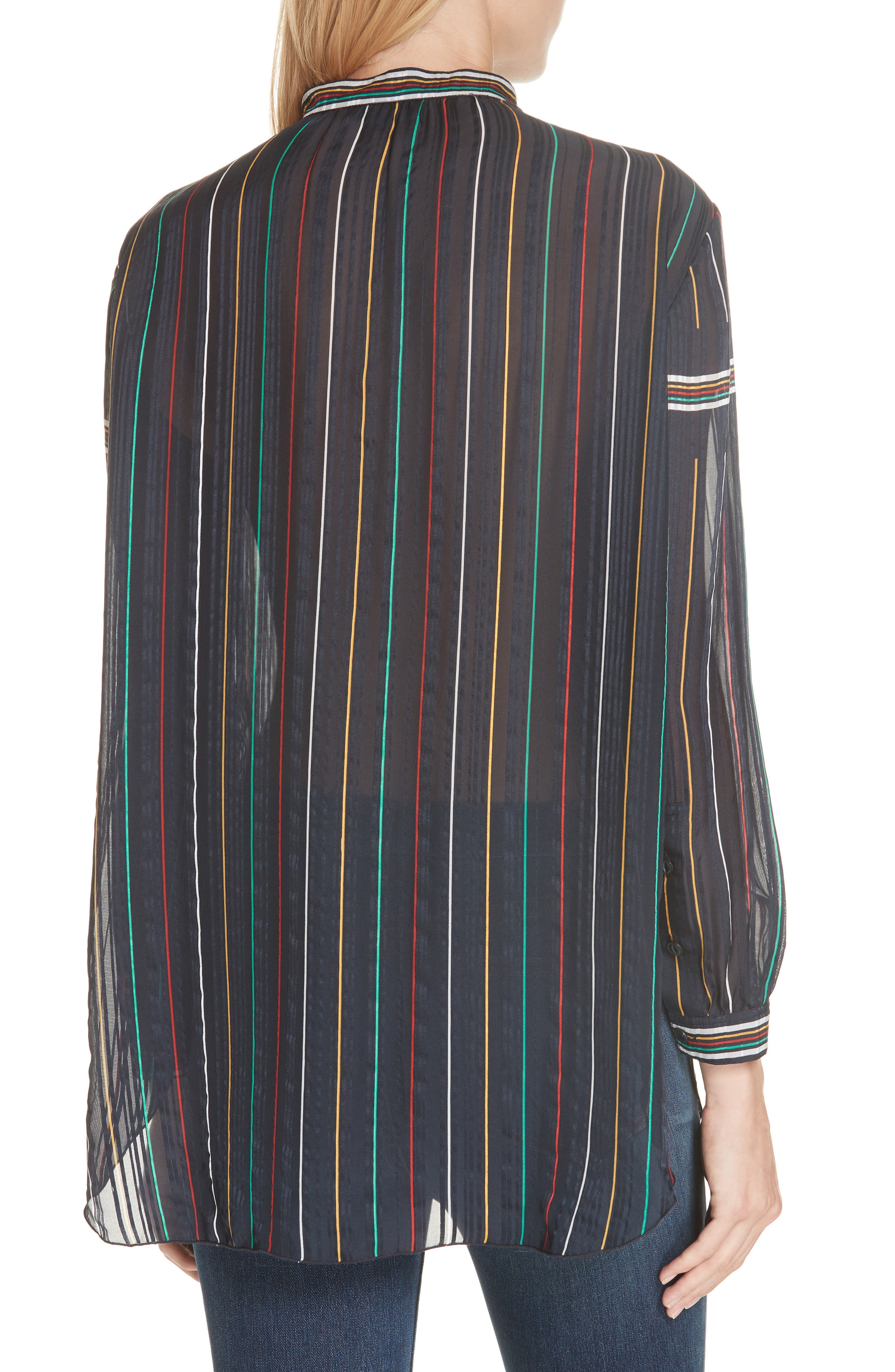 RAG & BONE, Austin Stripe Silk Shirt, Alternate thumbnail 2, color, DENIM BLUE