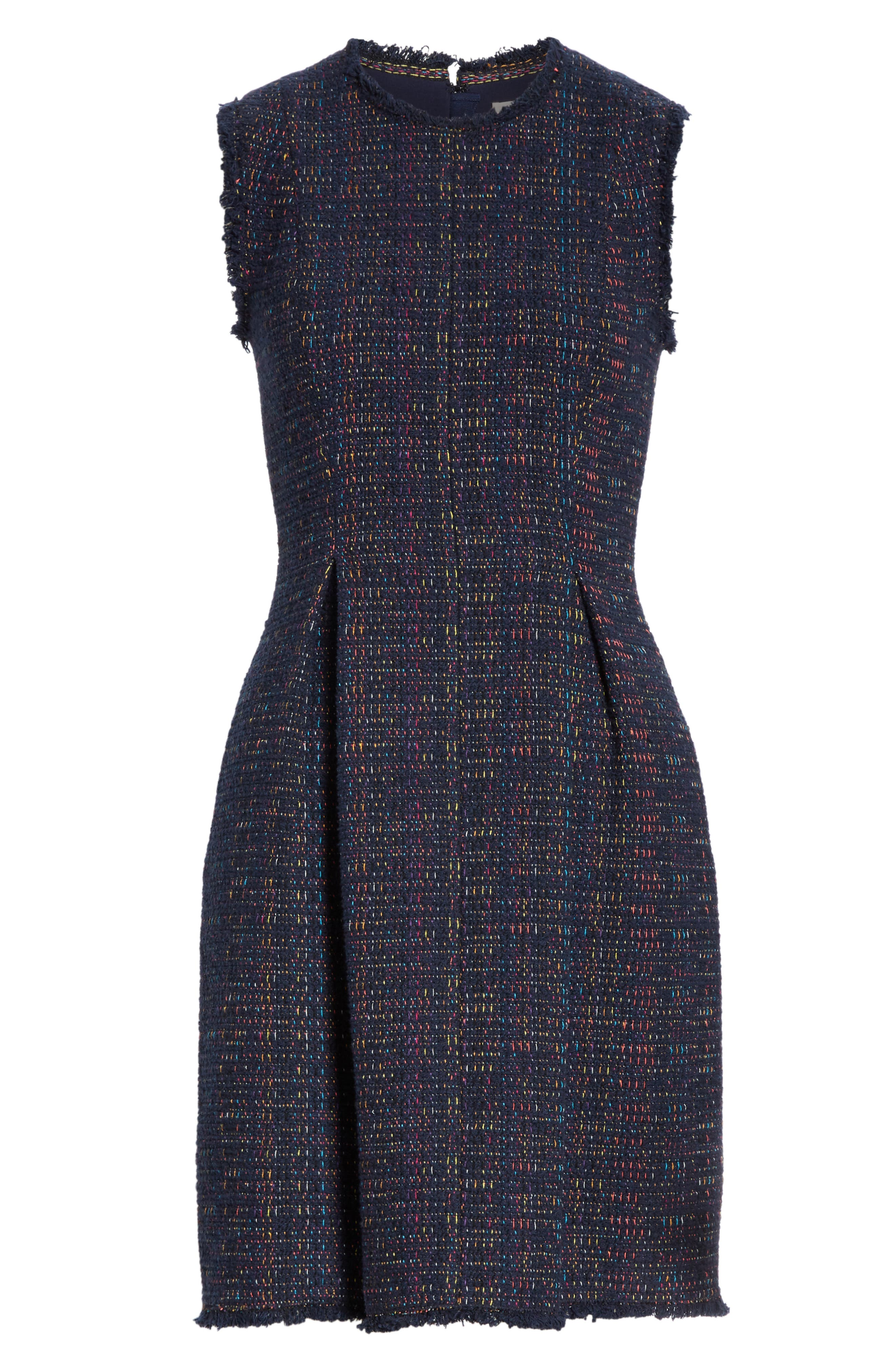 REBECCA TAYLOR, Rainbow Tweed Fit & Flare Dress, Alternate thumbnail 7, color, NAVY