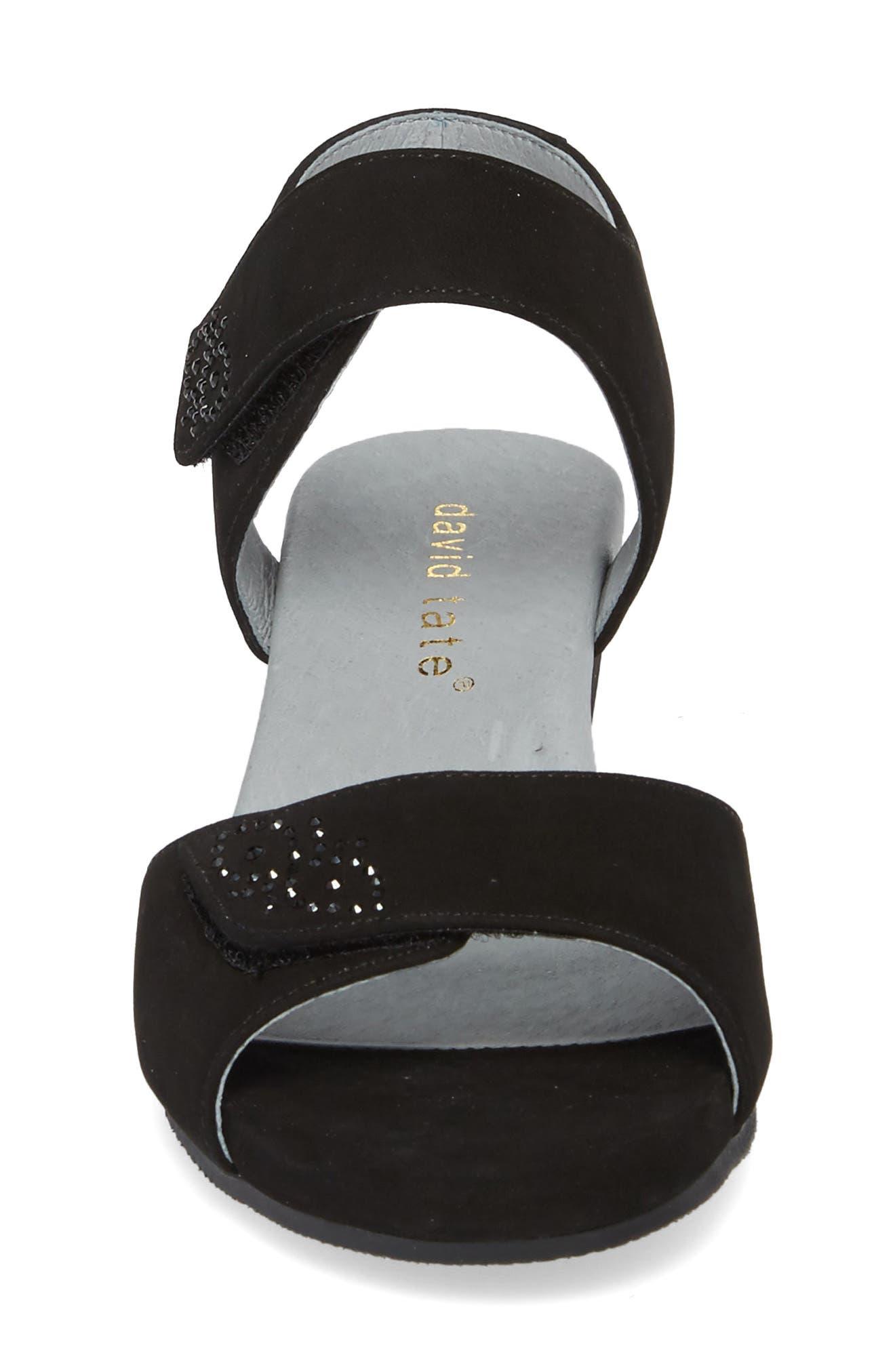 DAVID TATE, Queen Embellished Wedge Sandal, Alternate thumbnail 4, color, BLACK NUBUCK