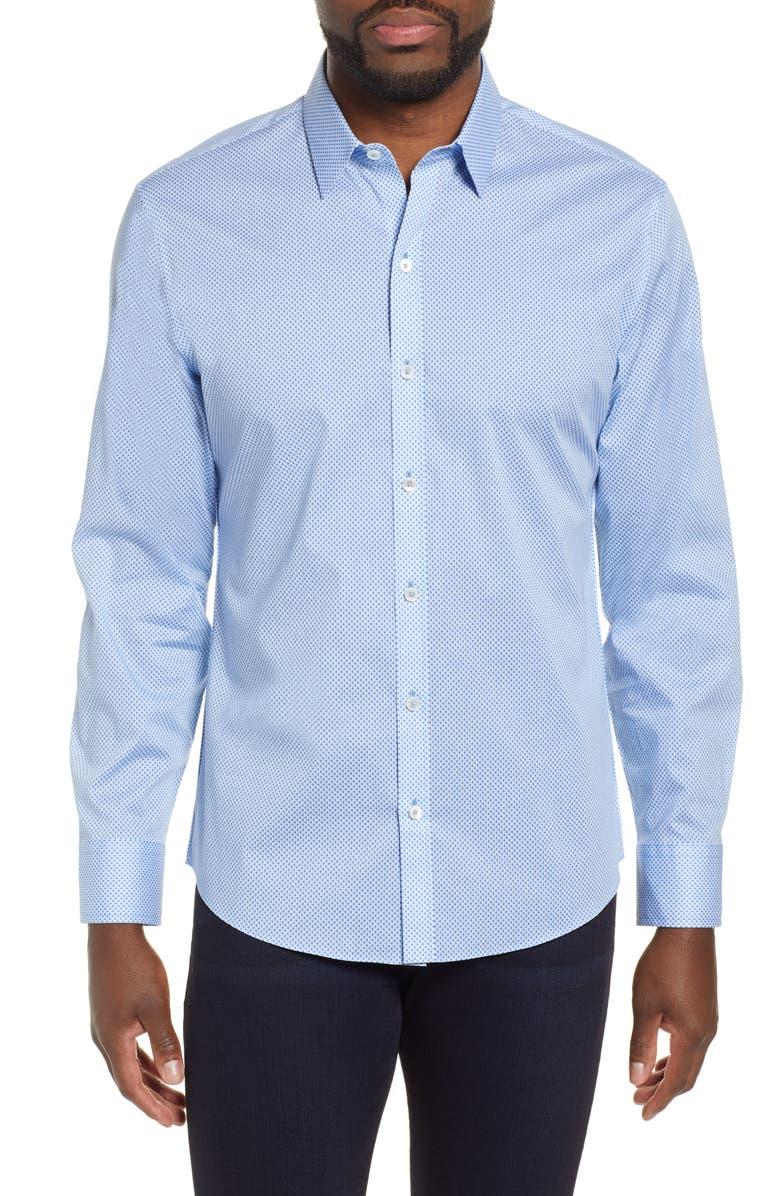 Zachary Prell T-shirts WILSON REGULAR FIT MICRO PRINT SPORT SHIRT